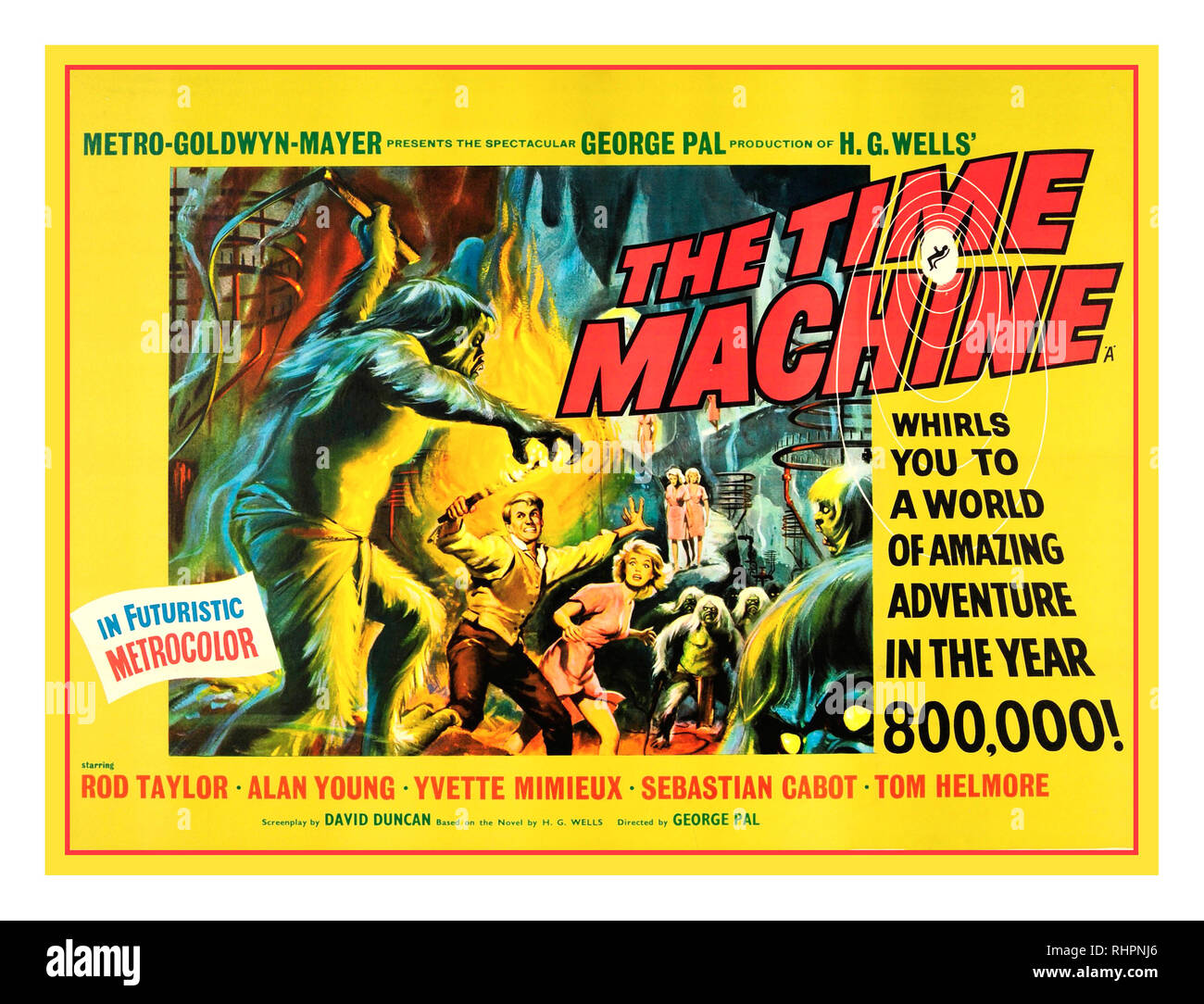 1960 Vintage Science Fiction Movie Film Poster for 'The Time Machine' by H.G. Wells The Time Machine (also known promotionally as H. G. Wells' The Time Machine) is a 1960 American science fiction film in Metrocolor from Metro-Goldwyn-Mayer, produced and directed by George Pal, that stars Rod Taylor, Yvette Mimieux, and Alan Young. - Stock Image