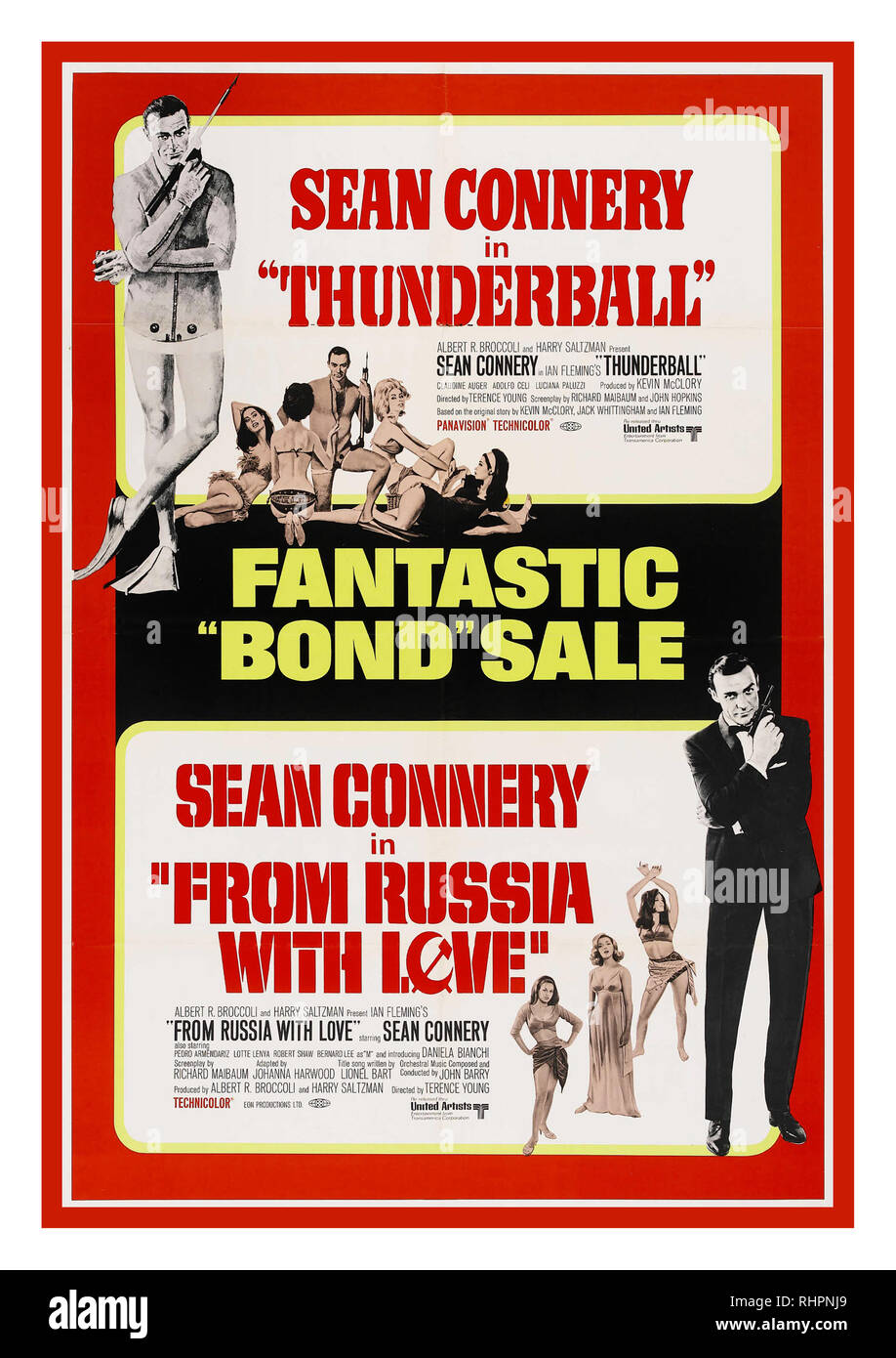 THUNDERBALL & FROM RUSSIA WITH LOVE 1960's Double James Bond Movie Poster showing Thunderball a 1965 British spy film and fourth in the James Bond series produced by Eon Productions, starring Sean Connery as the fictional MI6 agent James Bond. Adaptation of the novel of the same name by Ian Fleming, which in turn was based on an original screenplay by Jack Whittingham. It was directed by Terence Young AND...From Russia with Love a 1963 British spy film and the second in the James Bond film series produced by Eon Productions, as well as Sean Connery's second role as MI6 agent James Bond. - Stock Image