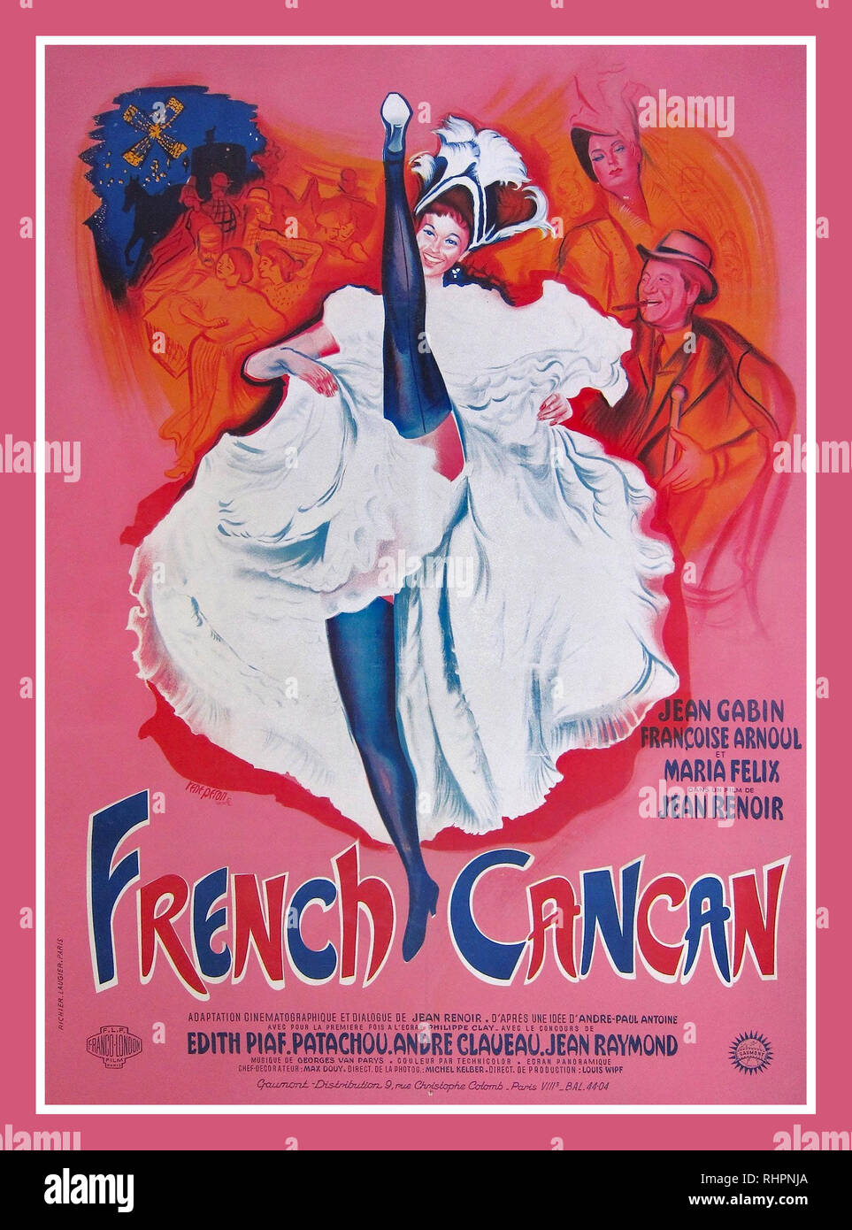Vintage Movie Film Musical Poster 'French Cancan' is a 1955 French musical film written and directed by Jean Renoir and starring Jean Gabin and Francoise Arnoul. The Musical Movie is a homage to the Parisian café-concert of the 19th century with its popular singers and dancers. Visually, the film evokes the paintings of Edgar Degas and the Impressionists, including his own father, Pierre-Auguste Renoir. It also marked his return to France and to French cinema after an exile that began in 1940 at the Nazi Occupation of France - Stock Image