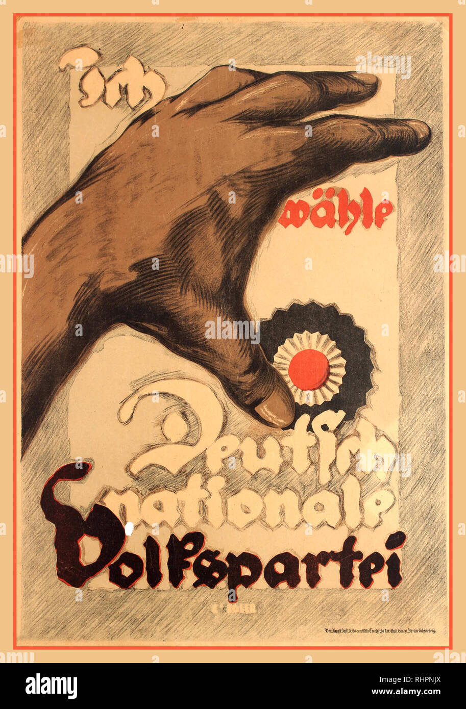 1930's German Propaganda Poster I choose the German National People Party (Ich wahle Deutsch Nationale Volkspartei). The German National People's Party (German: Deutschnationale Volkspartei, DNVP) was a national-conservative party in Germany during the time of the Weimar Republic. Before the rise of the Nazi Party, it was the major conservative and nationalist party in Weimar Germany. It was an alliance of nationalists, reactionary monarchists, völkisch and antisemitic elements supported by the Pan-German League. Lithograph printed by Vereinigte Kunst-Institute AG, Berlin-Schöneberg. German - Stock Image