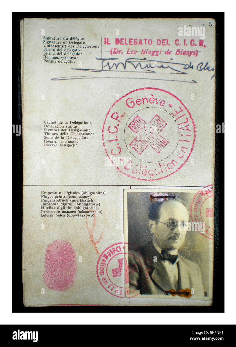 The Red Cross identitity document Adolf Eichmann used to enter Argentina under the alias Ricardo Klement in 1950, issued by the Italian delegation of the Red Cross in Genoa, Italy. - Stock Image