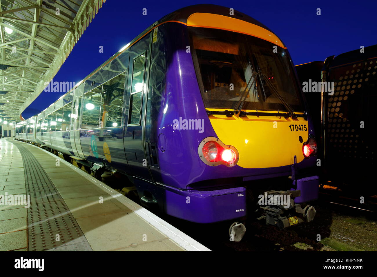 Scot Rail 170475 parked in York Station,North Yorkshire - Stock Image