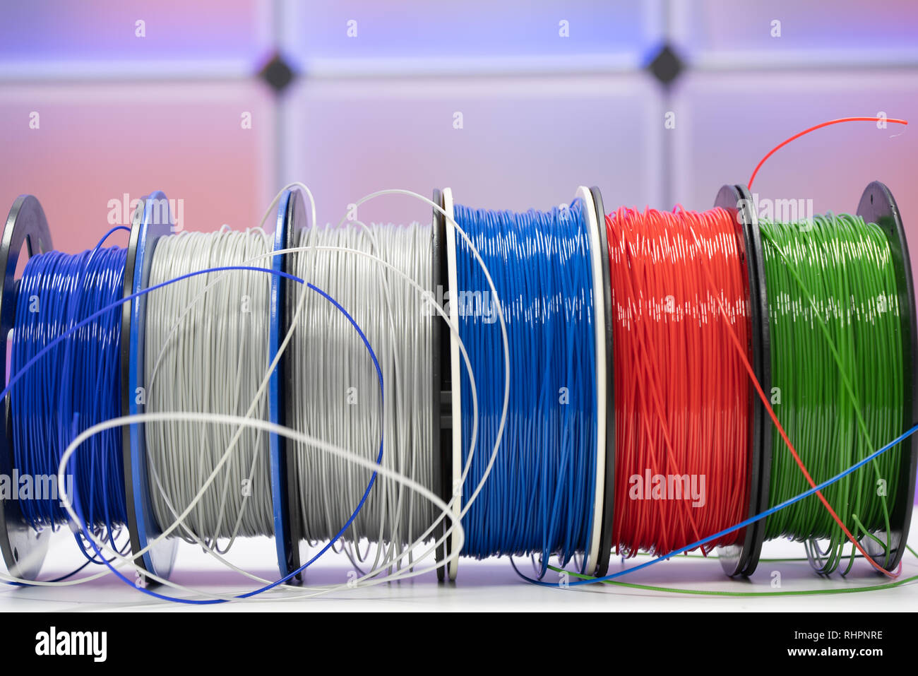 Spools of plastic filaments for 3D Printer - Stock Image