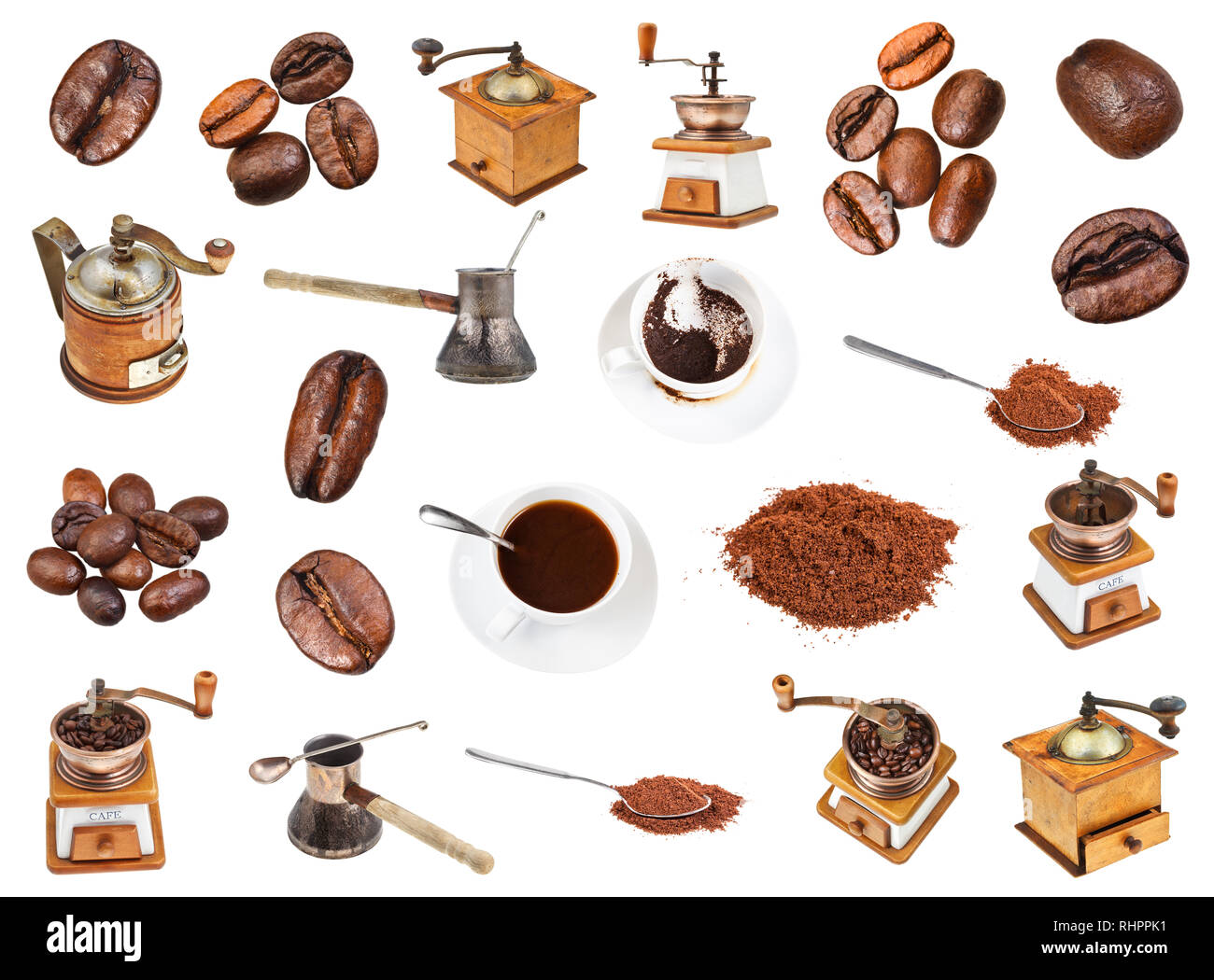 set from coffee, beans, ground powder, coffee mills, drinks in cups isolated on white background - Stock Image
