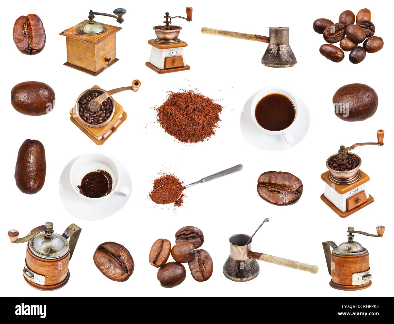 collage from coffee, beans, ground powder, coffee mills, drinks in cups isolated on white background - Stock Image