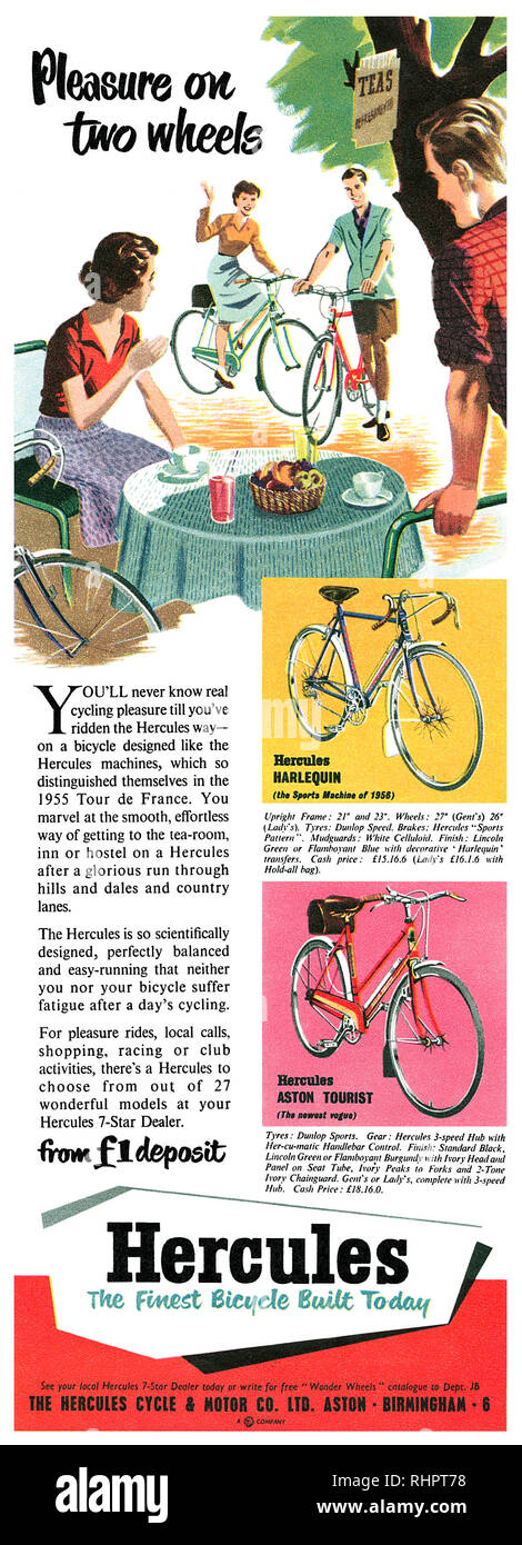 1956 British advertisement for Hercules bicycles. - Stock Image