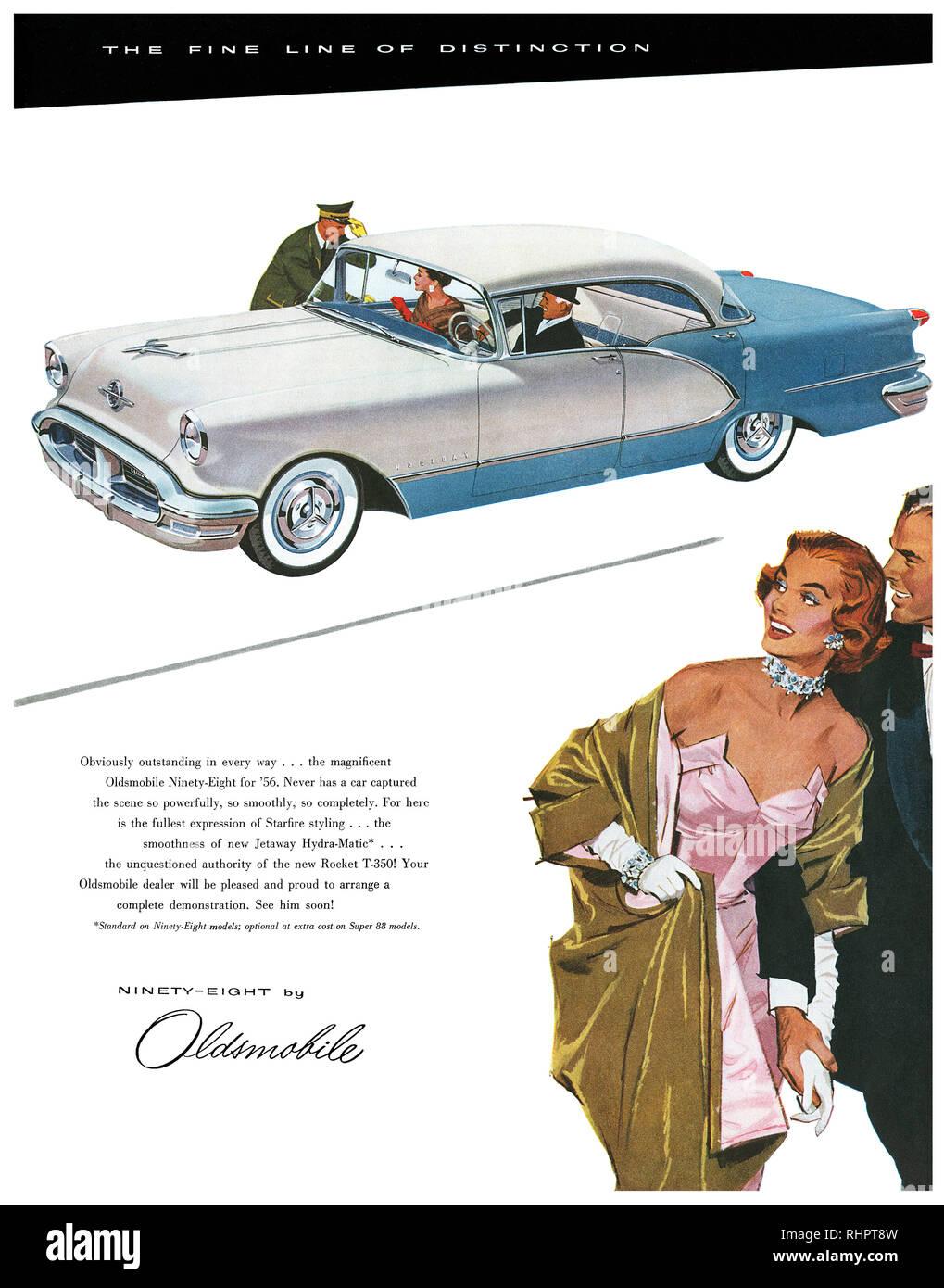 1956 U.S. advertisement for the Oldsmobile Ninety-Eight automobile. - Stock Image