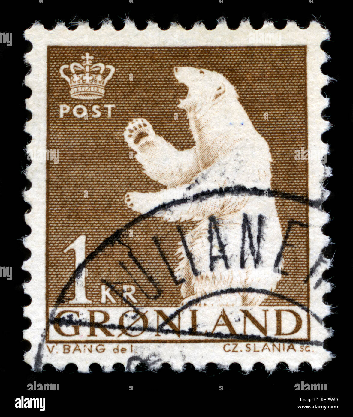 Postage Stamp From Greenland In The Polar Bear Series Issued In 1963
