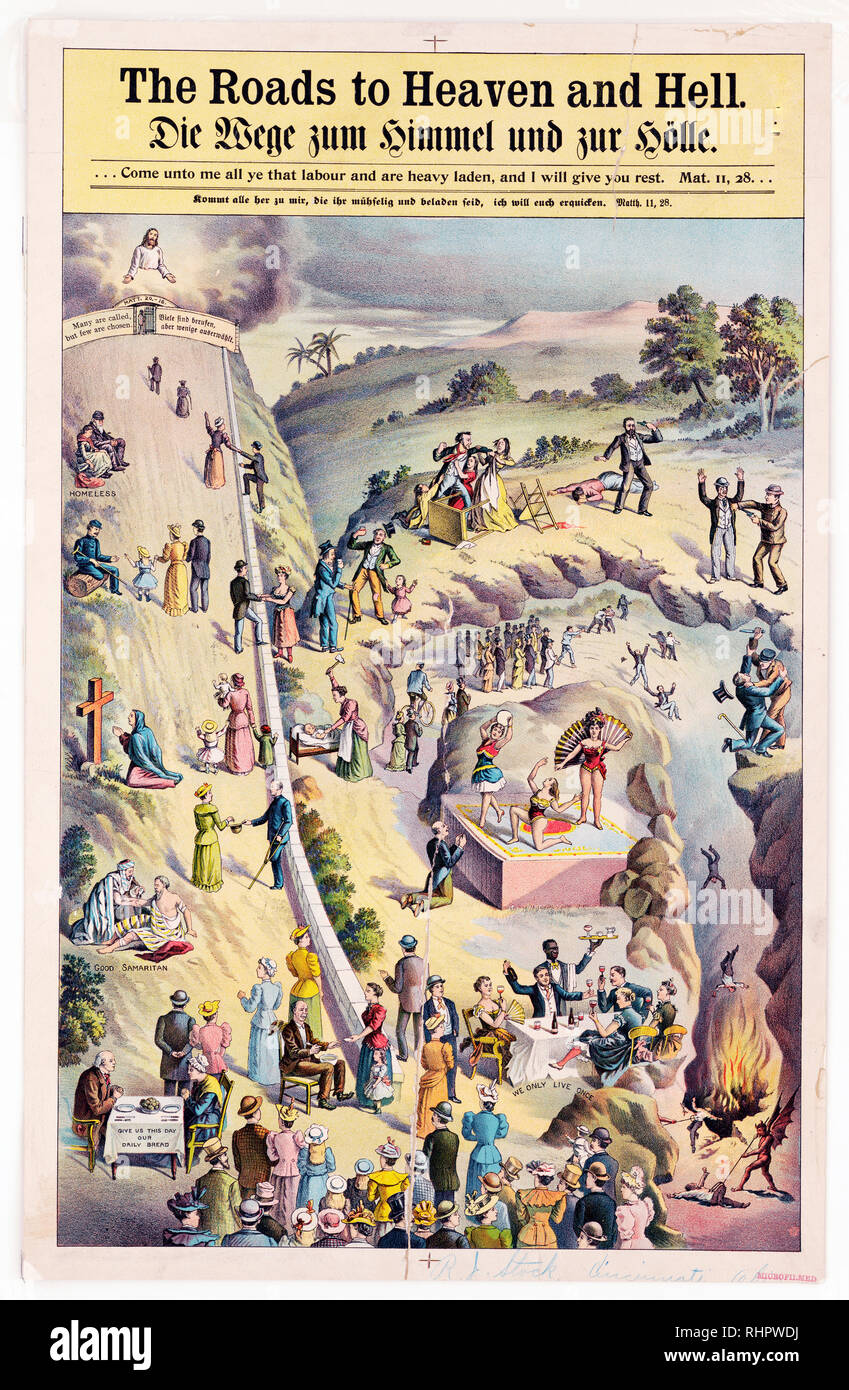 People taking the road to Heaven by helping the poor