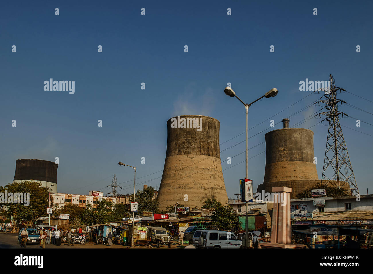 14-12- 2007 Energy-cooling  thermal power Station  Ahmedabad  Gujarat  India asia - Stock Image