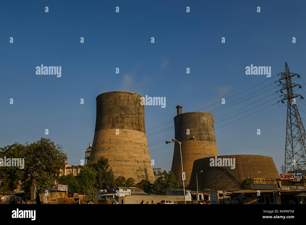 14 Dec 2007 Energy-cooling  thermal power Station  Ahmedabad  Gujarat  India - Stock Image