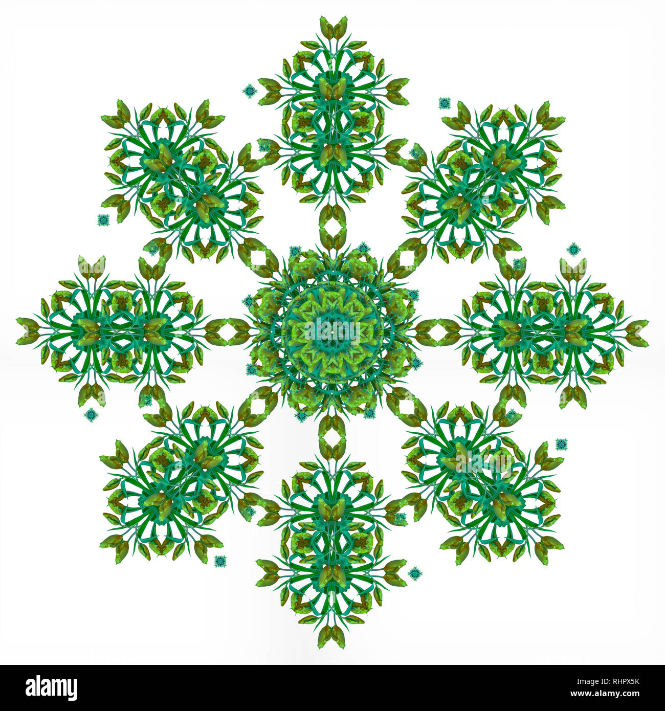 Fine art floral decorative and symmetrical fractal color pattern made from macros of yellow bright green tulips,white background,vintage painting Stock Photo