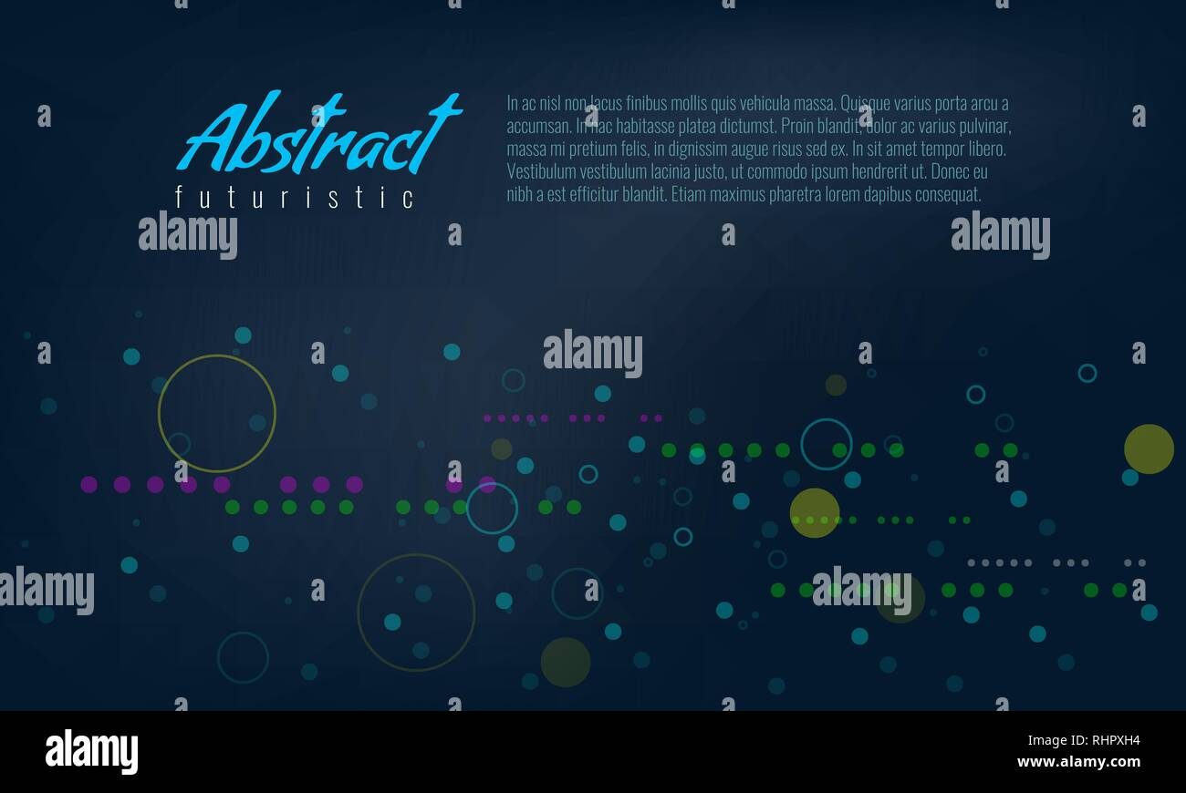 Abstract background with line and fill circles. Modern and trendy Futuristic particle effect Vector illustration. - Stock Image