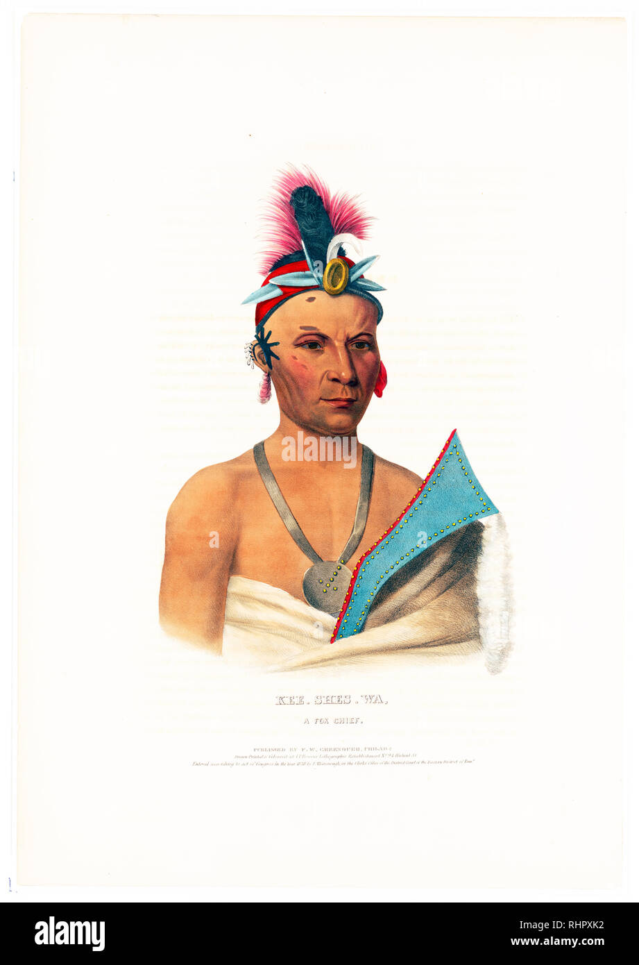 Print shows Kee-Shes-Waa, head-and-shoulders portrait, facing slightly right, wearing a small headdress and earrings. - Stock Image