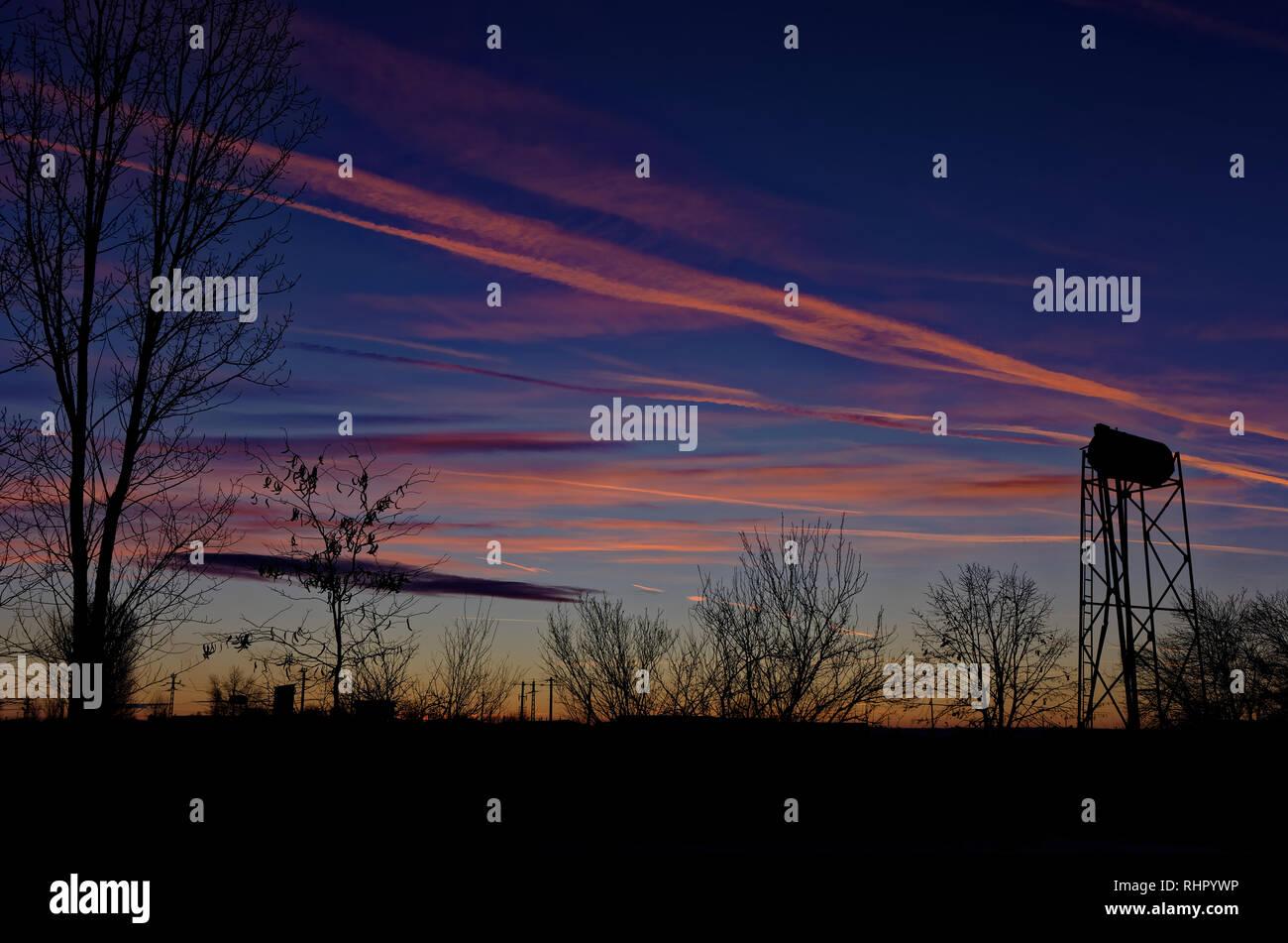 Winter Sunset - Stock Image