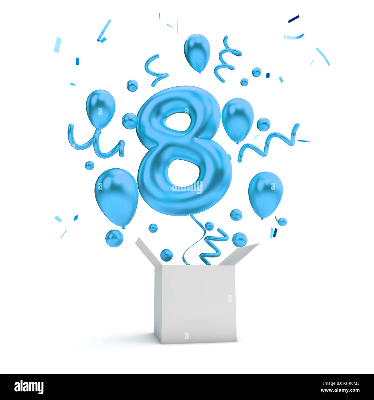 Happy 8th Birthday Blue Surprise Balloon And Box 3D Rendering