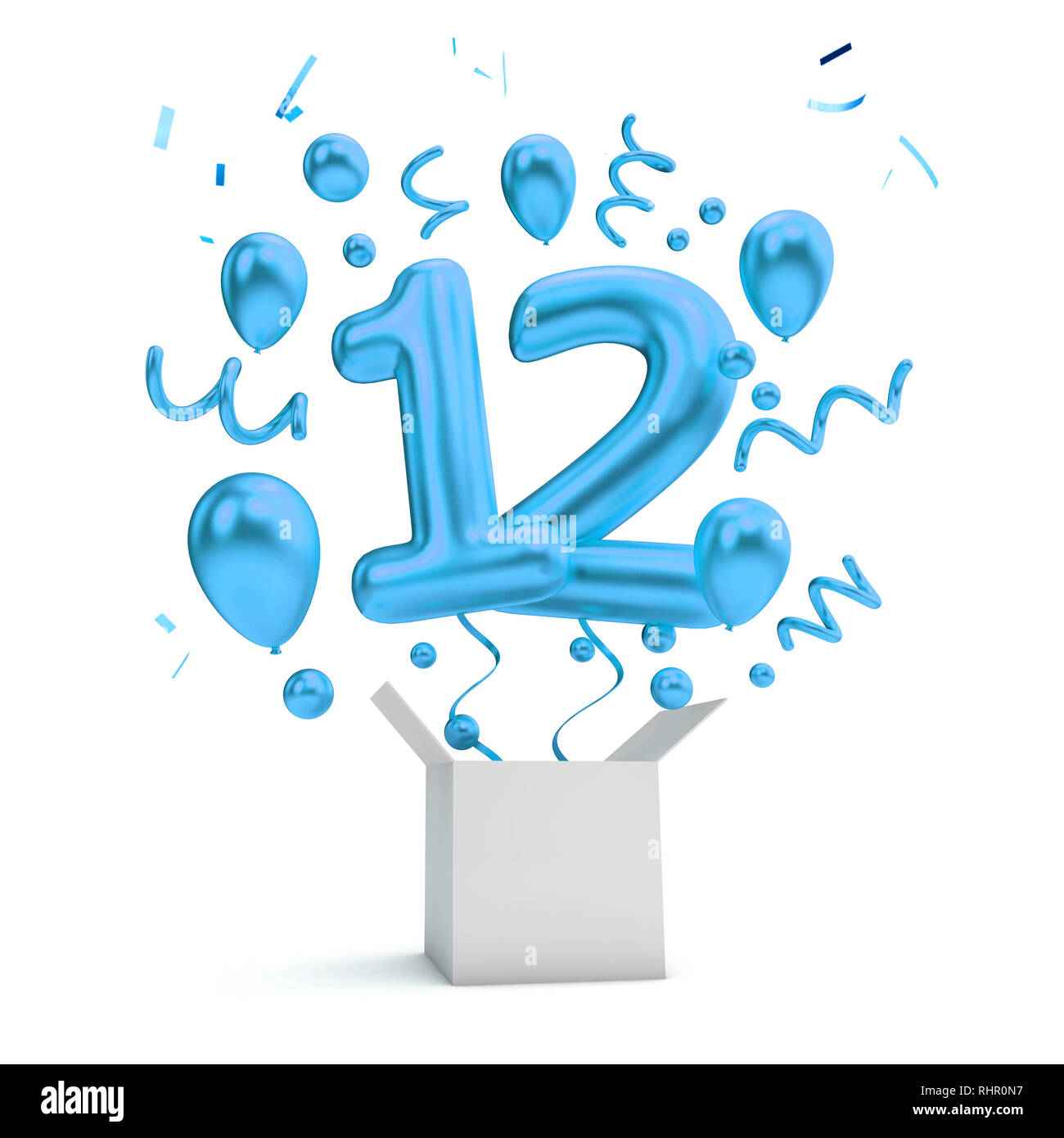 Happy 12th Birthday Blue Surprise Balloon And Box 3D Rendering