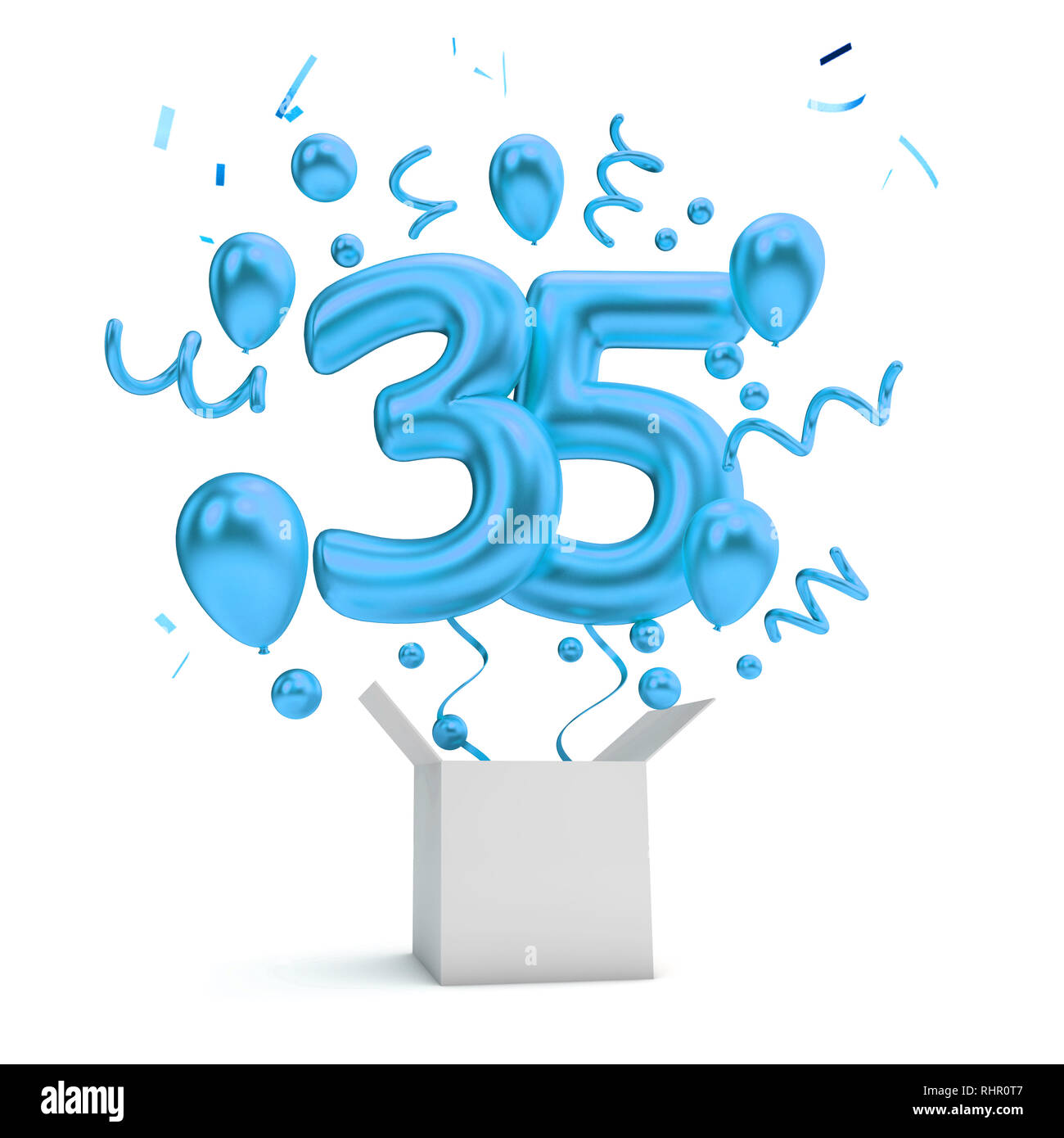Happy 35th Birthday Blue Surprise Balloon And Box 3D Rendering