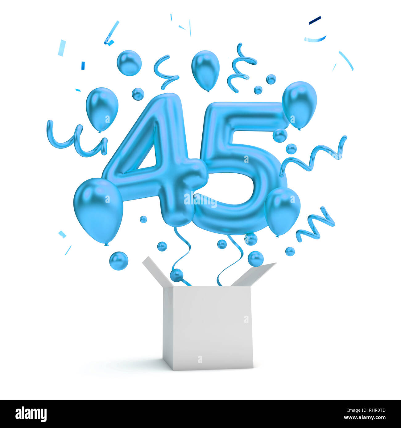 Happy 45th Birthday Blue Surprise Balloon And Box 3D Rendering