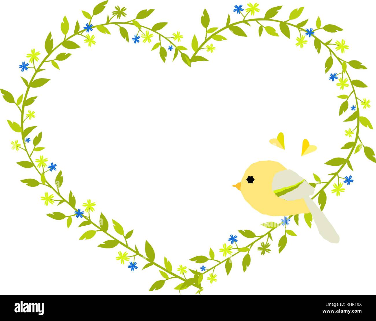 Gentle green heart-shaped wreath with a yellow bird. Eps 10 - Stock Vector