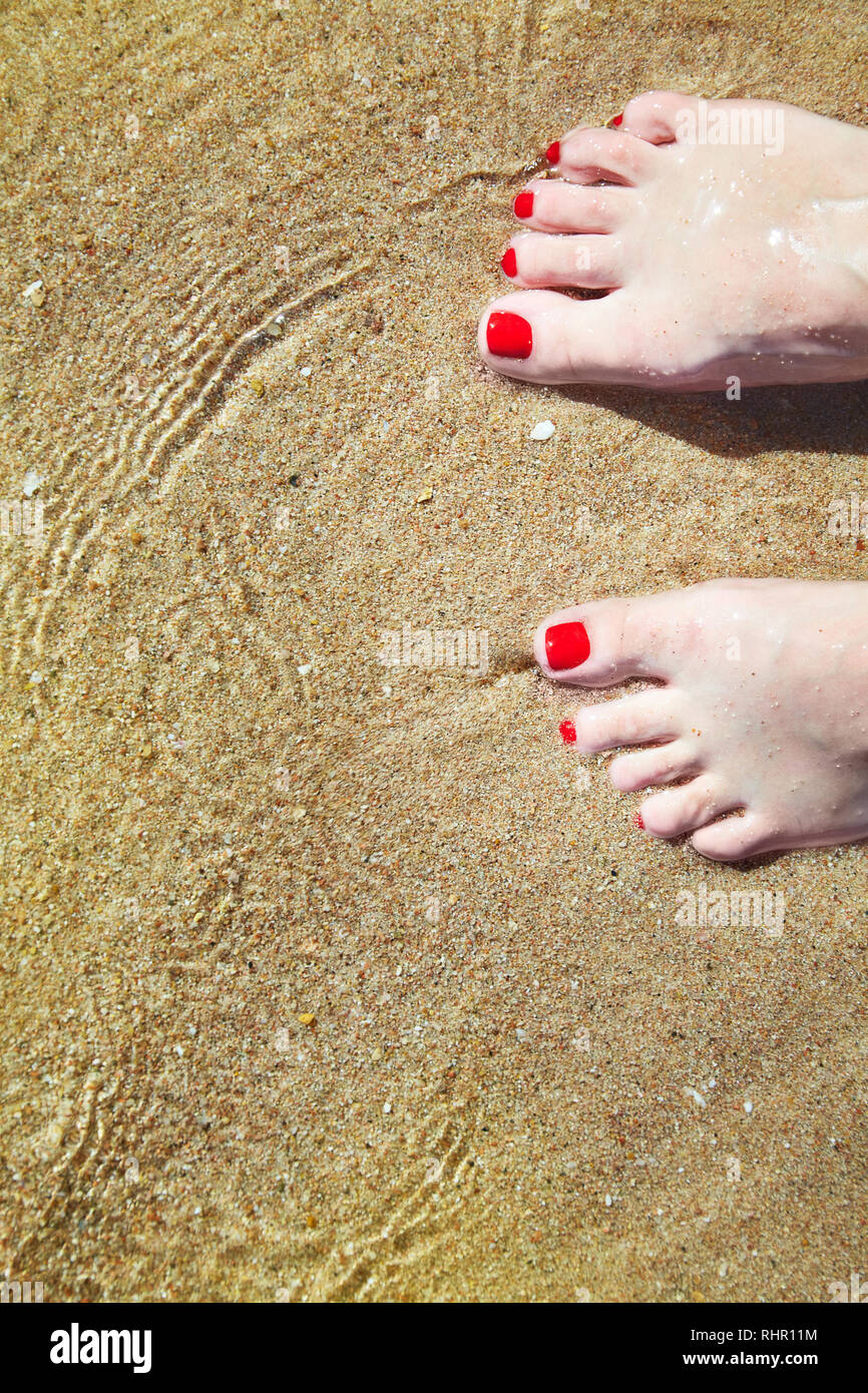 Woman's pedicured feet with red nail polish on toes in the sand in water. Bare feet standing on sand at beach, hello summer welcome vacation concept, - Stock Image