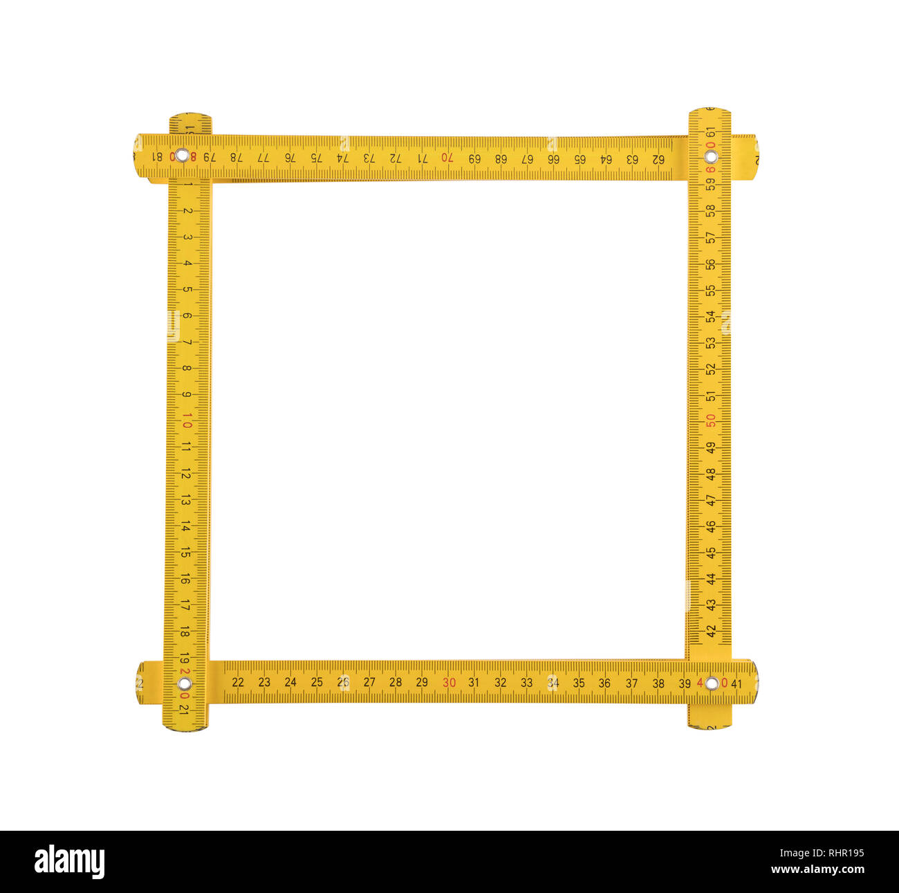 Yellow meter ruler folded as frame isolated on white background - Stock Image