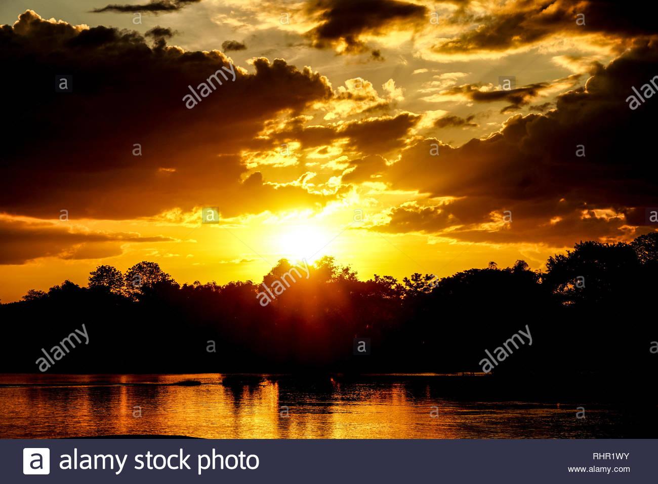 Beautiful Sunset on Dondet, Laos - Stock Image