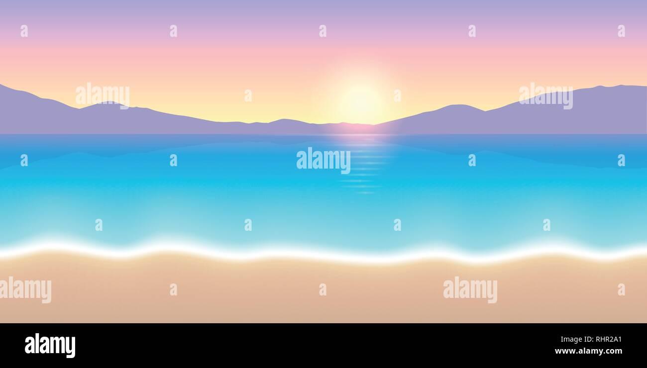 colorful sunrise beautiful beach landscape vector illustration EPS10 - Stock Vector