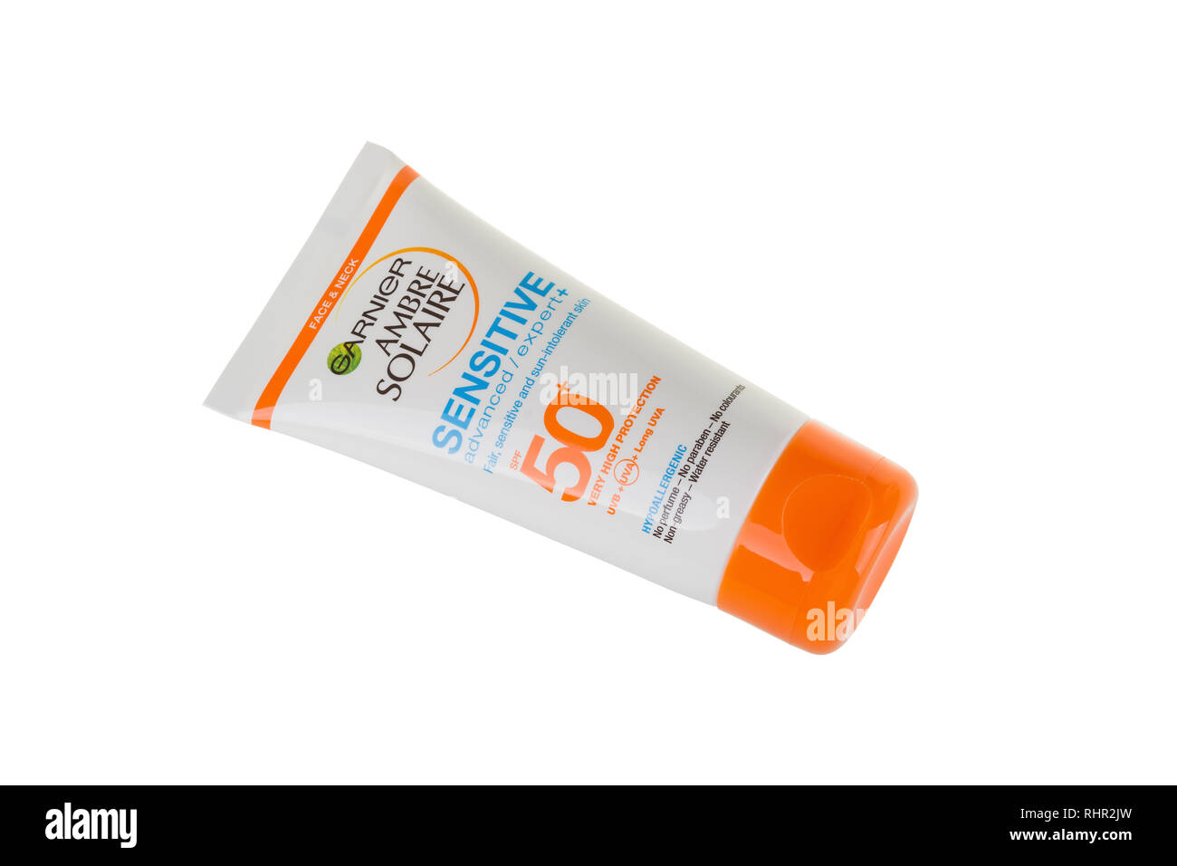 BURGAS, BULGARIA - MAY 22, 2017: Garnier Ambre Solaire Sensitive Face and Neck Sun Cream SPF50, 50ml isolated on white, with clipping path. Stock Photo