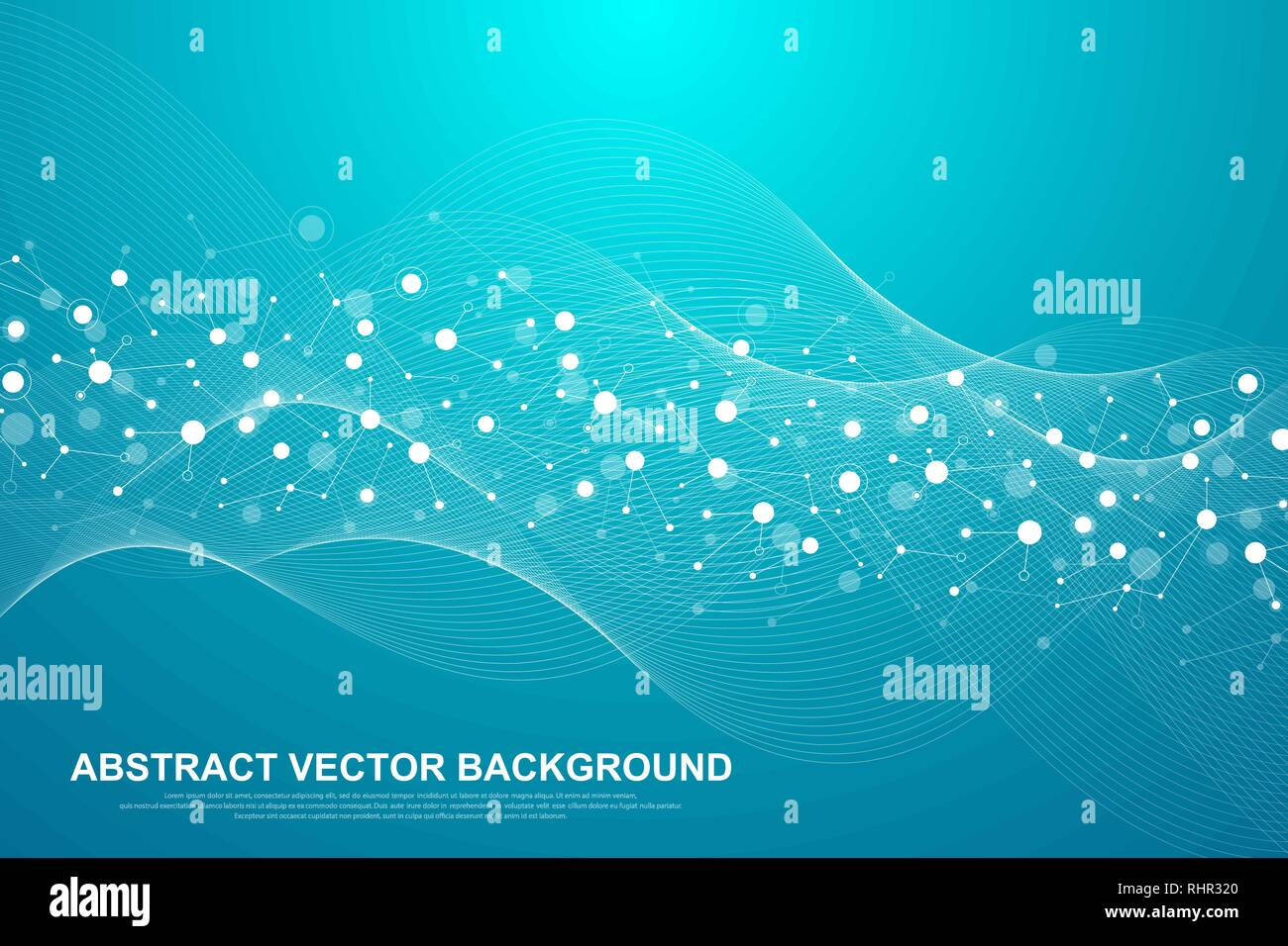 Scientific molecule background for medicine, science, technology, chemistry. Waves flow. Wallpaper or banner with a DNA molecules. Vector geometric - Stock Image