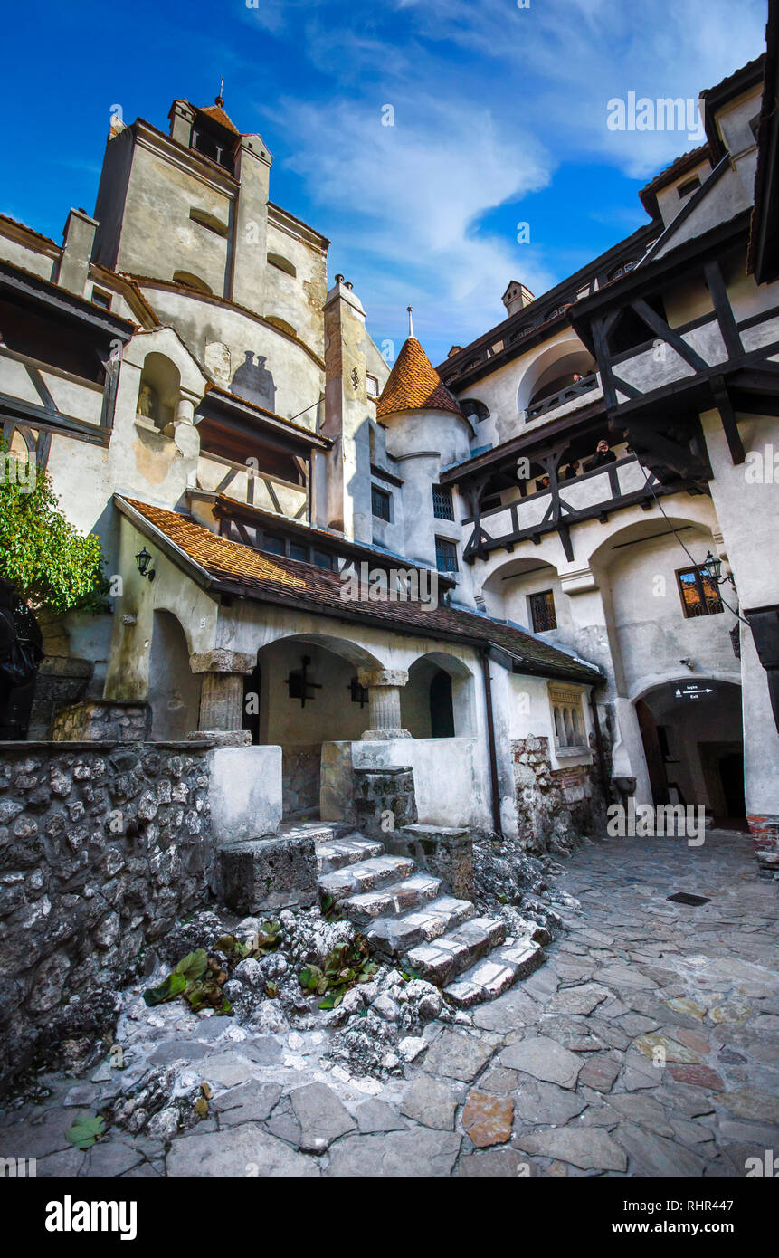 View of inside part of Bran or Dracula Castle in Transylvania, Romania. Tower of medieval Bran Castelul Stock Photo
