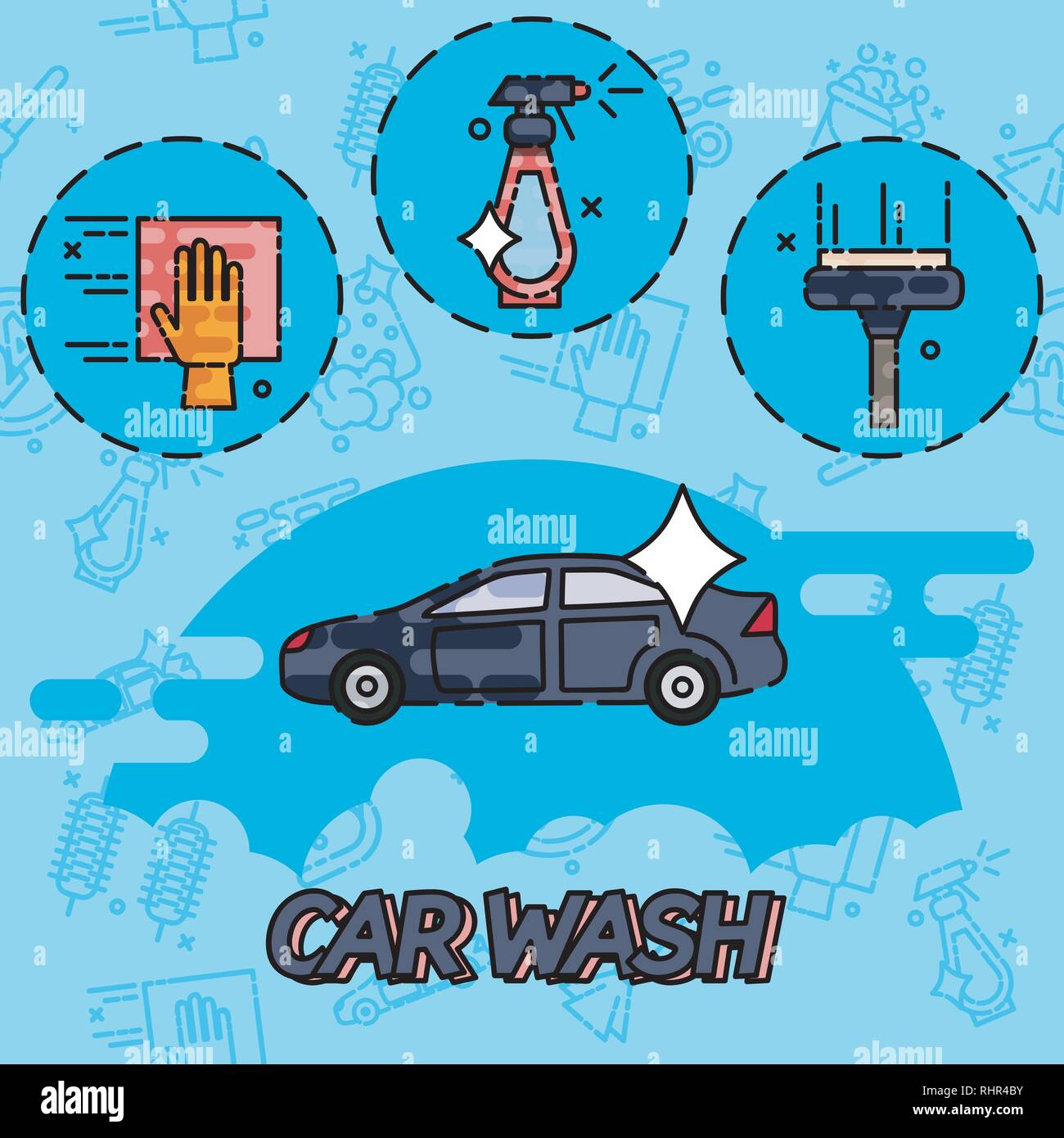 Car Wash Concept Icons Flat Style Vector Illustration Isolated On