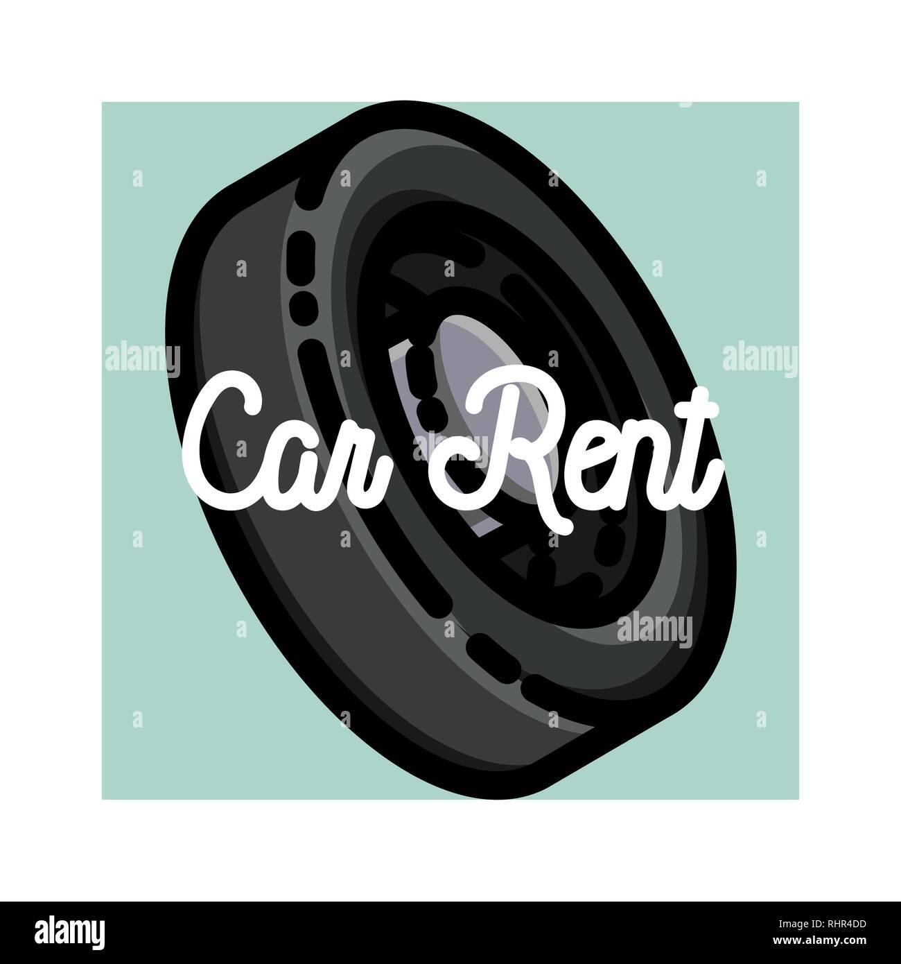 Color vintage car rent emblem label badge and design elements vector illustration eps 10