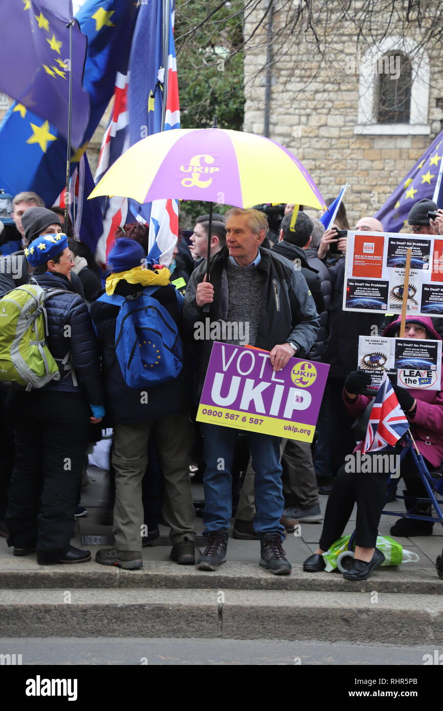 Brexit protests outside the Houses of Parliament - Stock Image