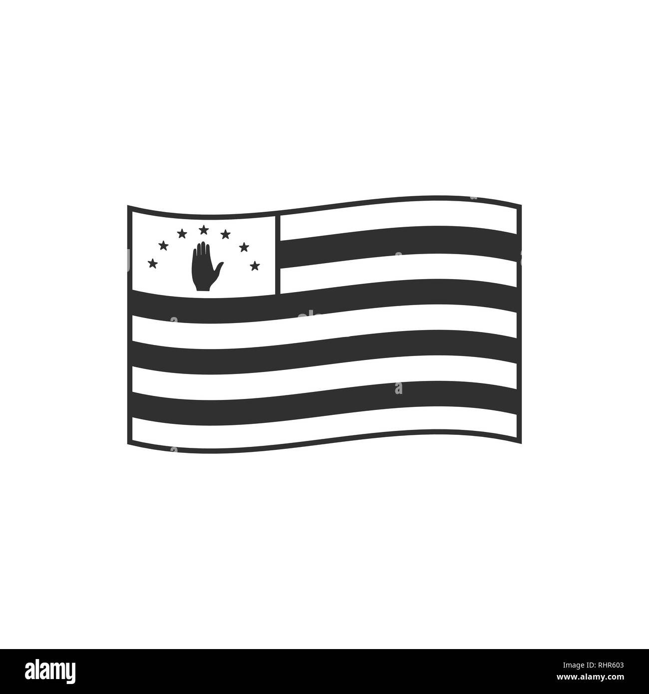 Abkhazia flag icon in black outline flat design. Independence day or National day holiday concept. - Stock Vector