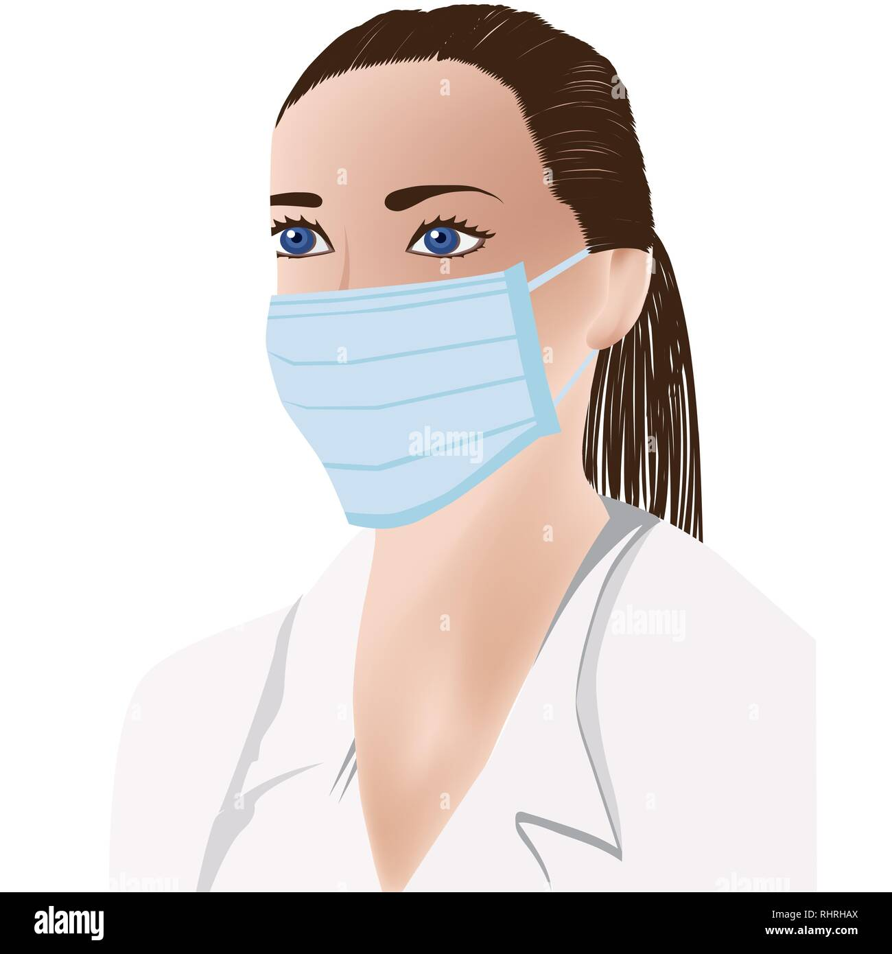 female doctor, medical mask on face, white uniform - Stock Image