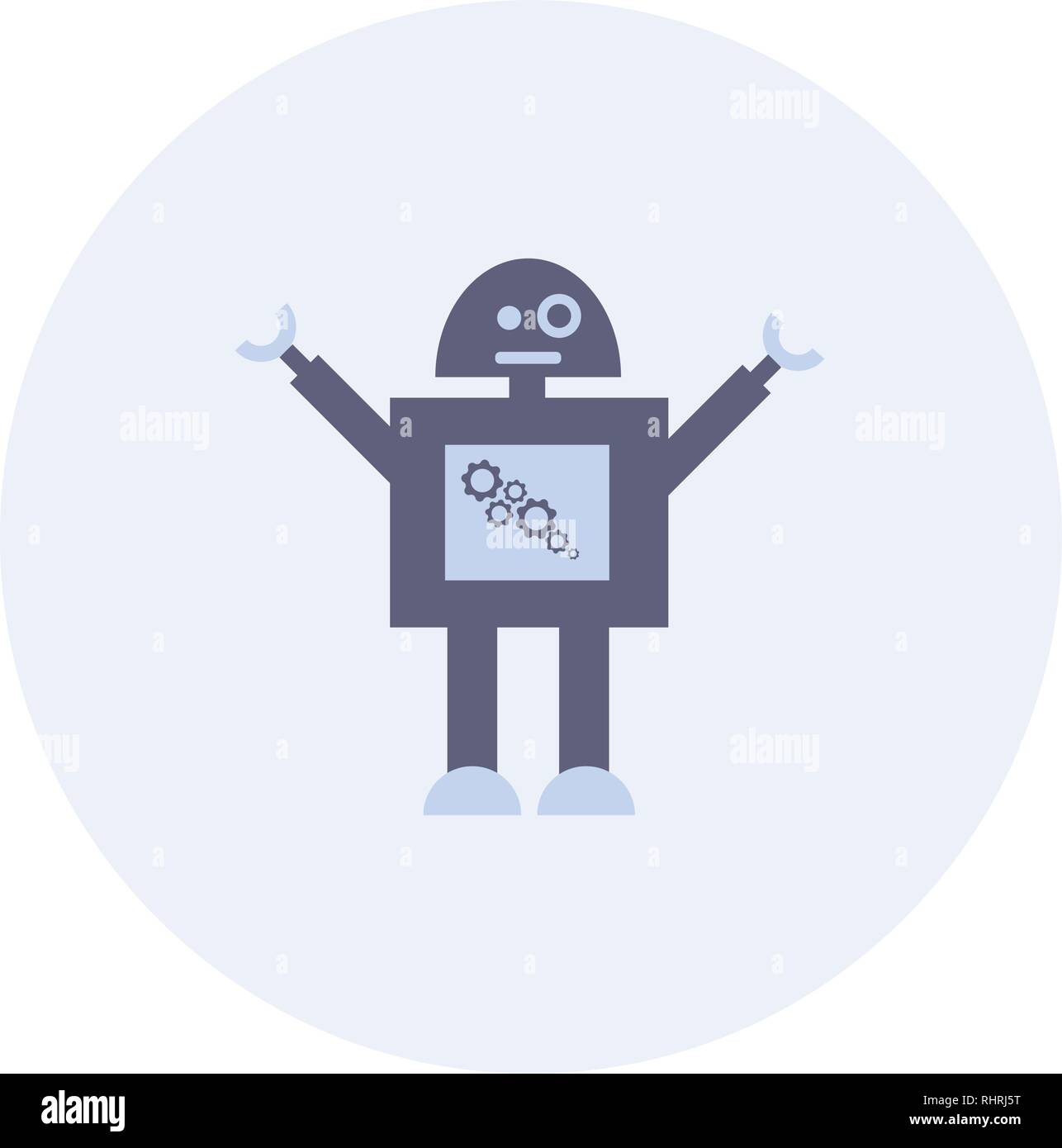 Hipster vintage robot. Retro robot. Vintage robot. Robot With Heart. Happy robot - Stock Image