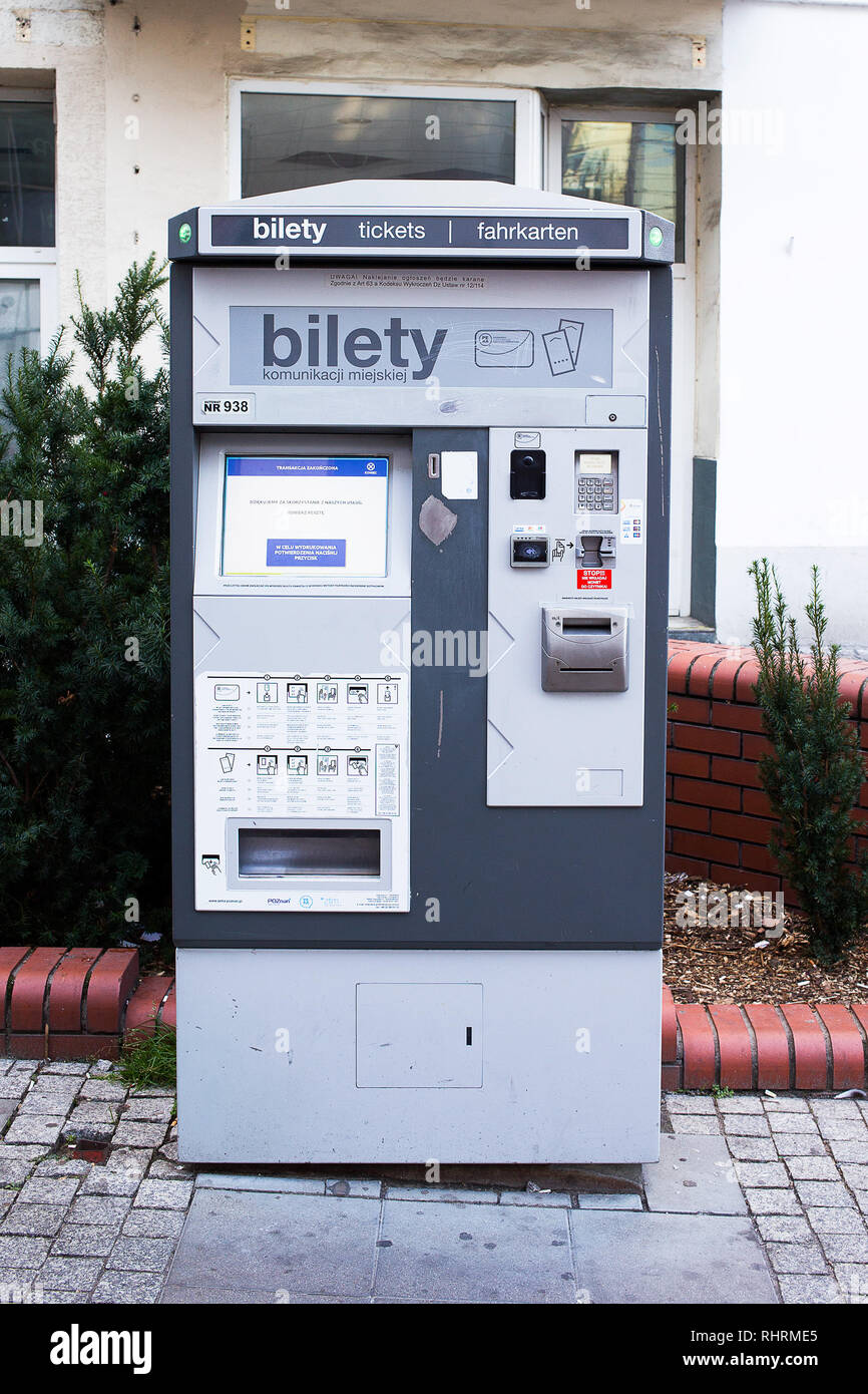 Ticket vending machine for easy commute around city of Poznan, equipped in contactless card reader - Stock Image