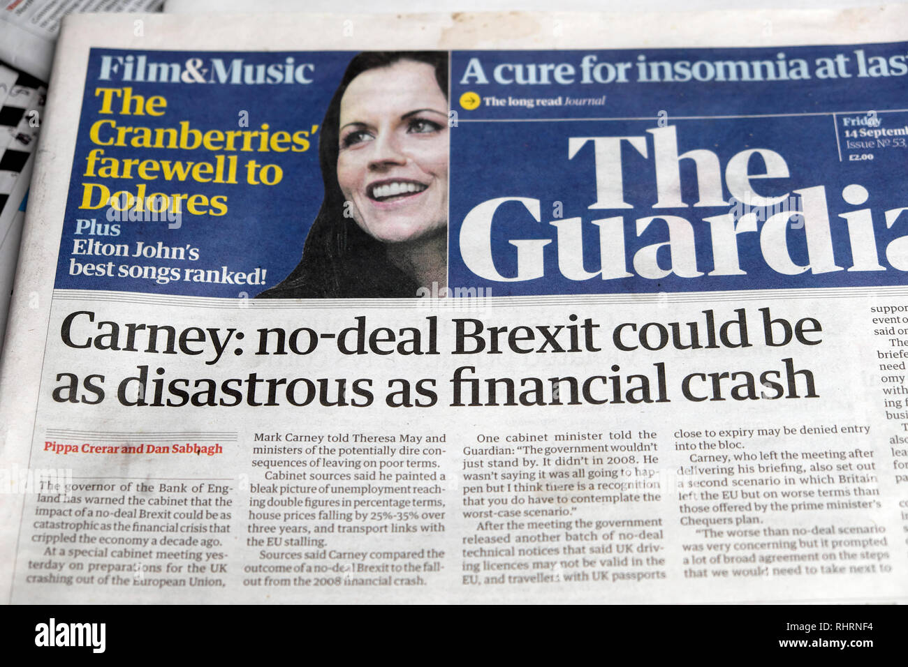 'Carney' no-deal Brexit could be as disastrous as financial crash' front page headline in Guardian newspaper London England UK September 2018 - Stock Image