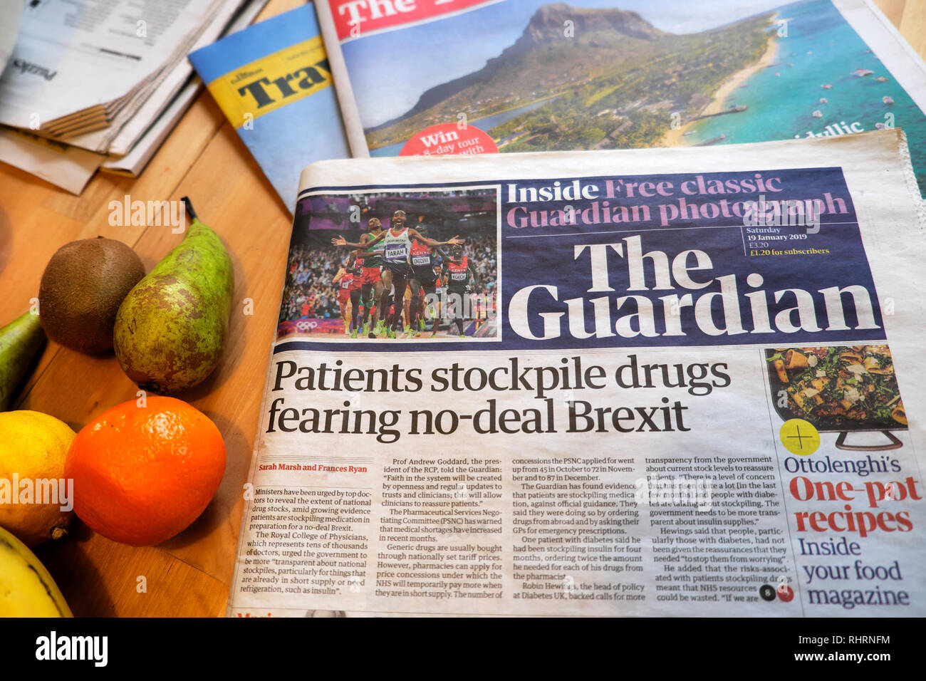 'Patients stockpile drugs fearing no-deal Brexit' Guardian newspaper front page headline & fruit on kitchen table in London England UK 19 January 2019 - Stock Image