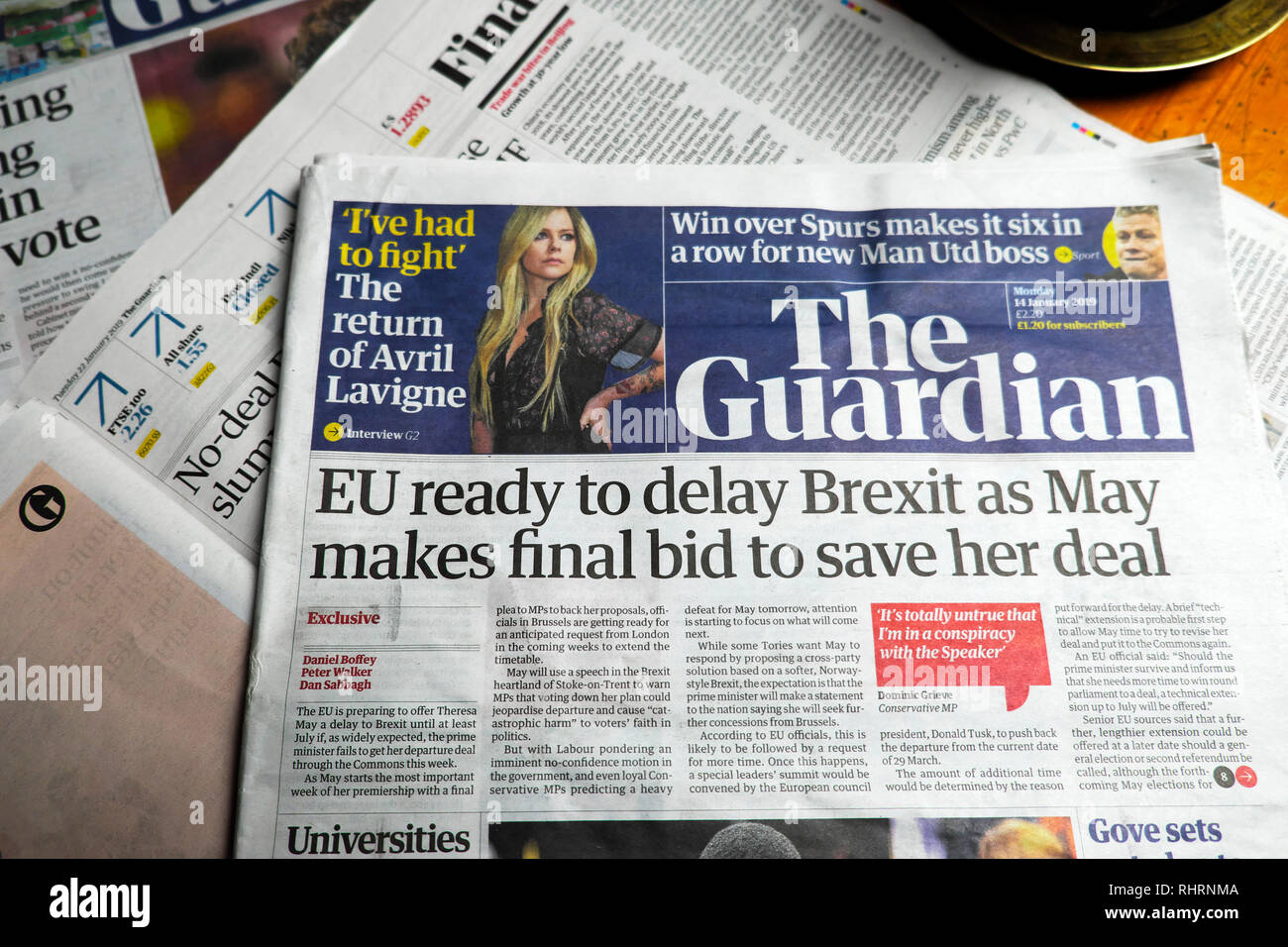 'EU ready to delay Brexit as May makes final bid to save her deal' front page headline in Guardian newspaper London UK 11 January 2019 - Stock Image