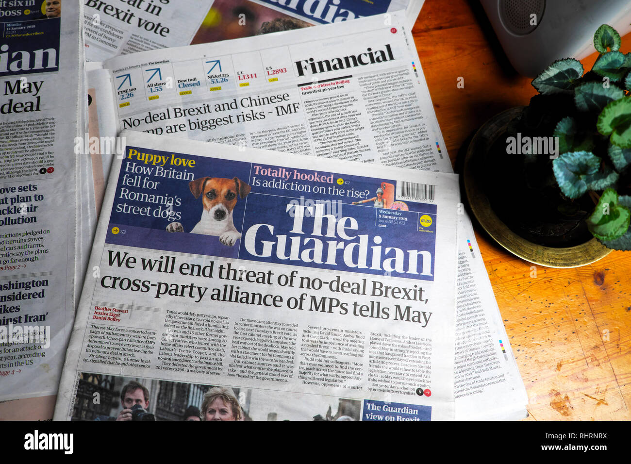 'We will end threat of no-deal Brexit, cross-party alliance of MPs tells May'  front page headline in Guardian newspaper London England UK 9 Jan 2019 - Stock Image