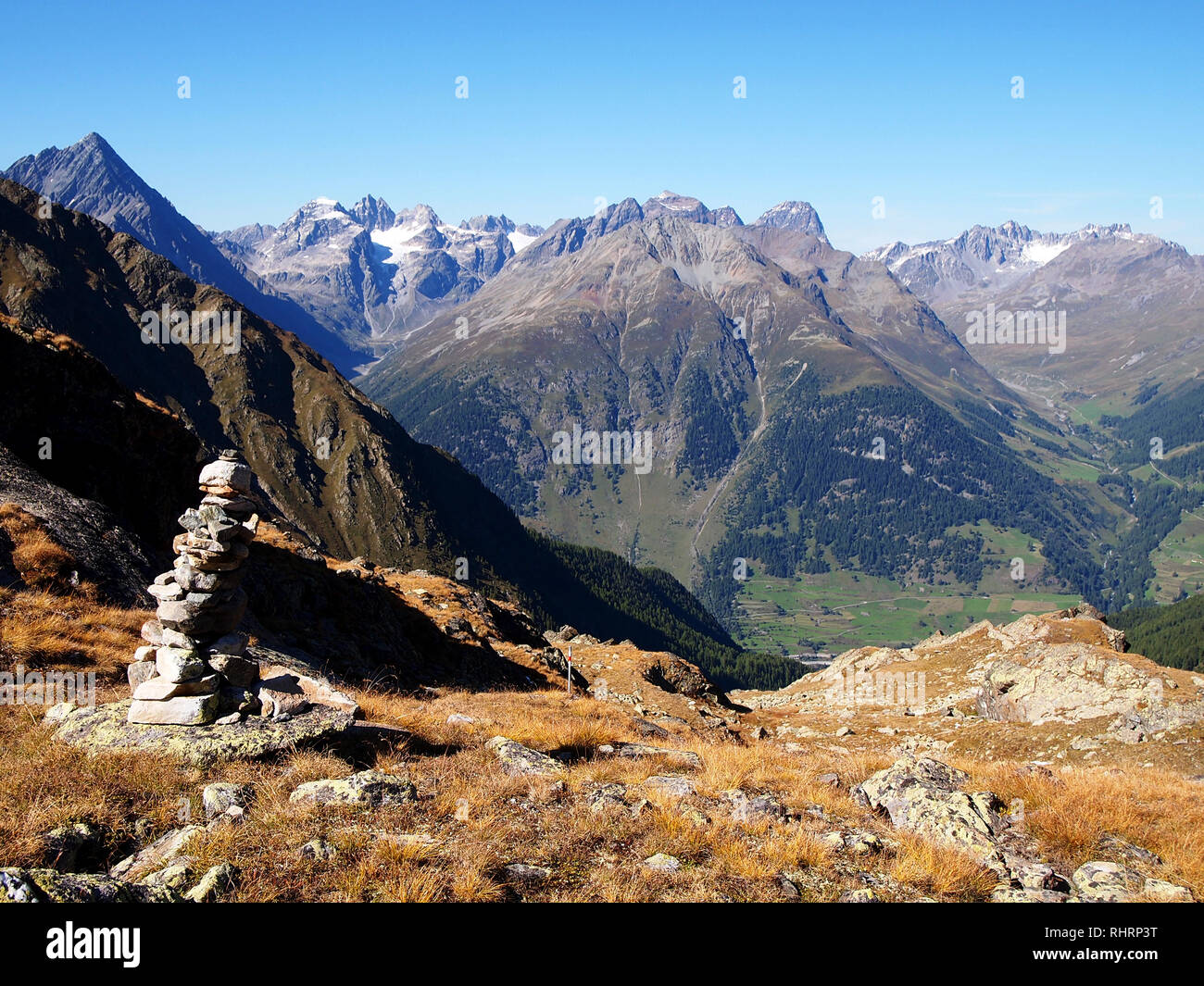 Lakes and peaks of Swiss National Park, Switzerland, in summertime Stock Photo