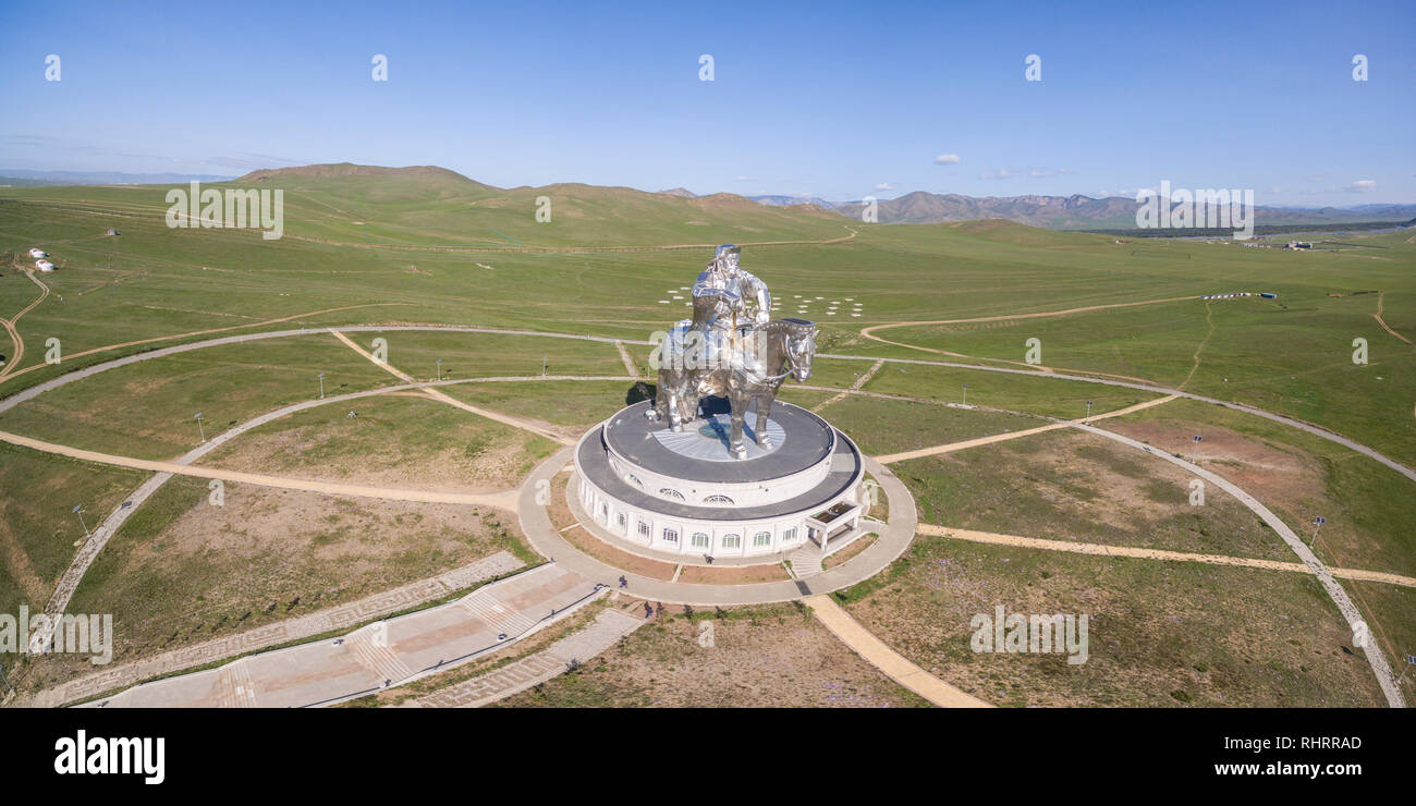 Genghis Khan Statue Complex from above. Erdene, Tov province, Mongolia. - Stock Image