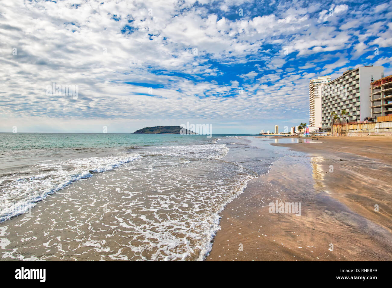 Mazatlan Golden Zone (Zona Dorada), famous touristic beach and resort zone Stock Photo