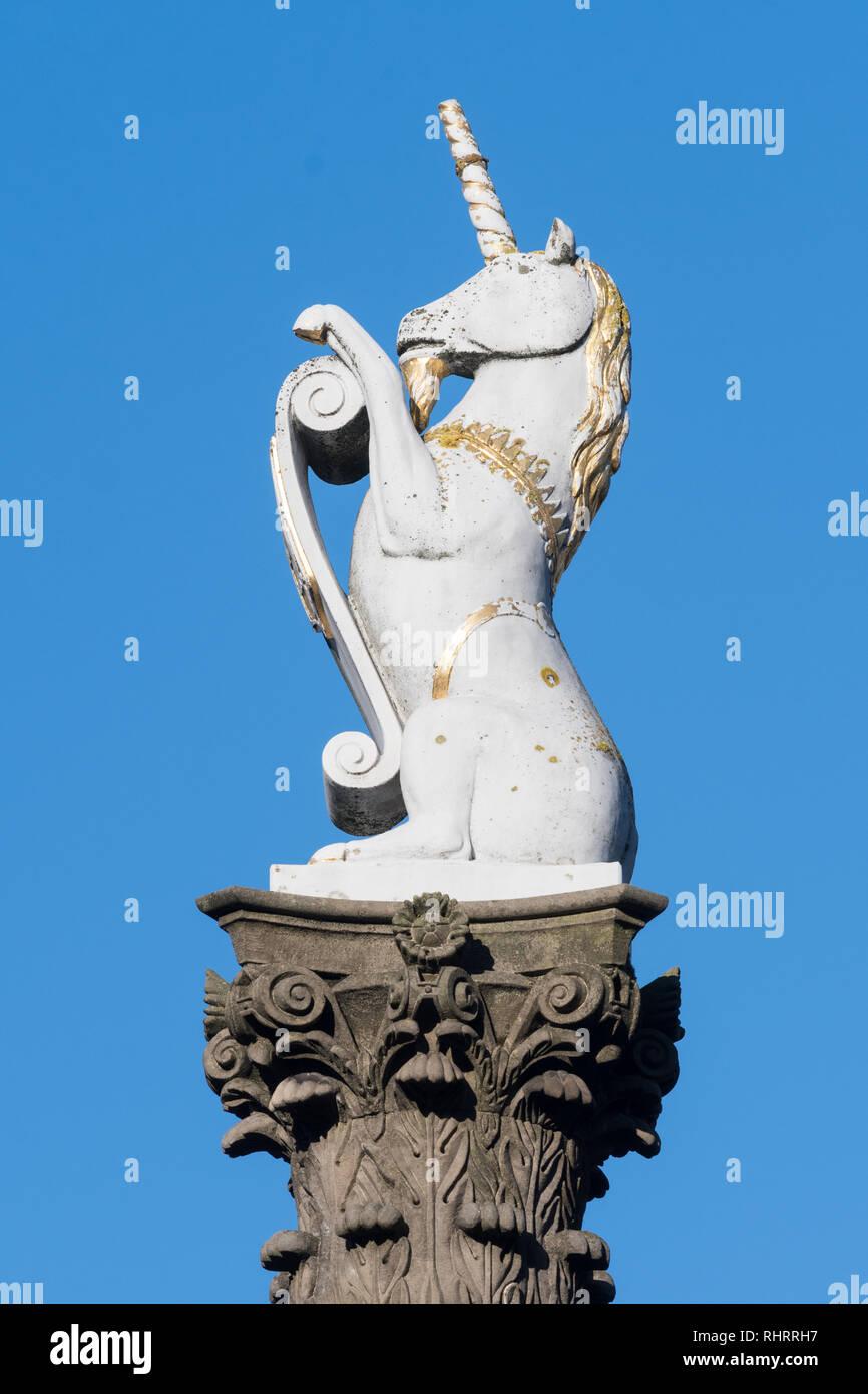 white marble unicorn, scotlands national animal, on Aberdeen's Mercat Cross, Aberdeen, Scotland, UK - Stock Image