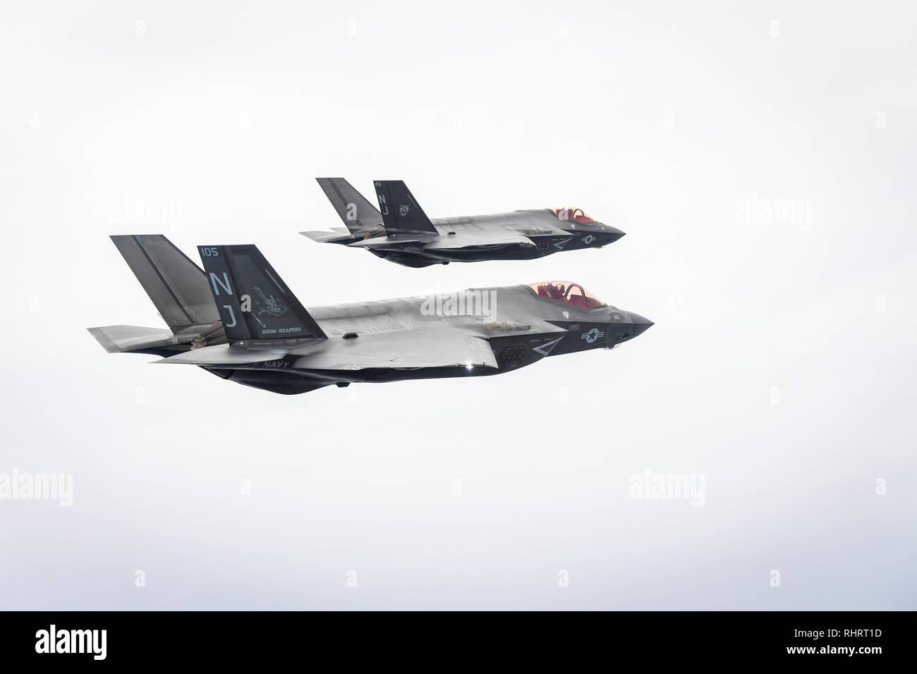 EGLIN AIR FORCE BASE, Fla  (Feb  1, 2019) Two F-35C