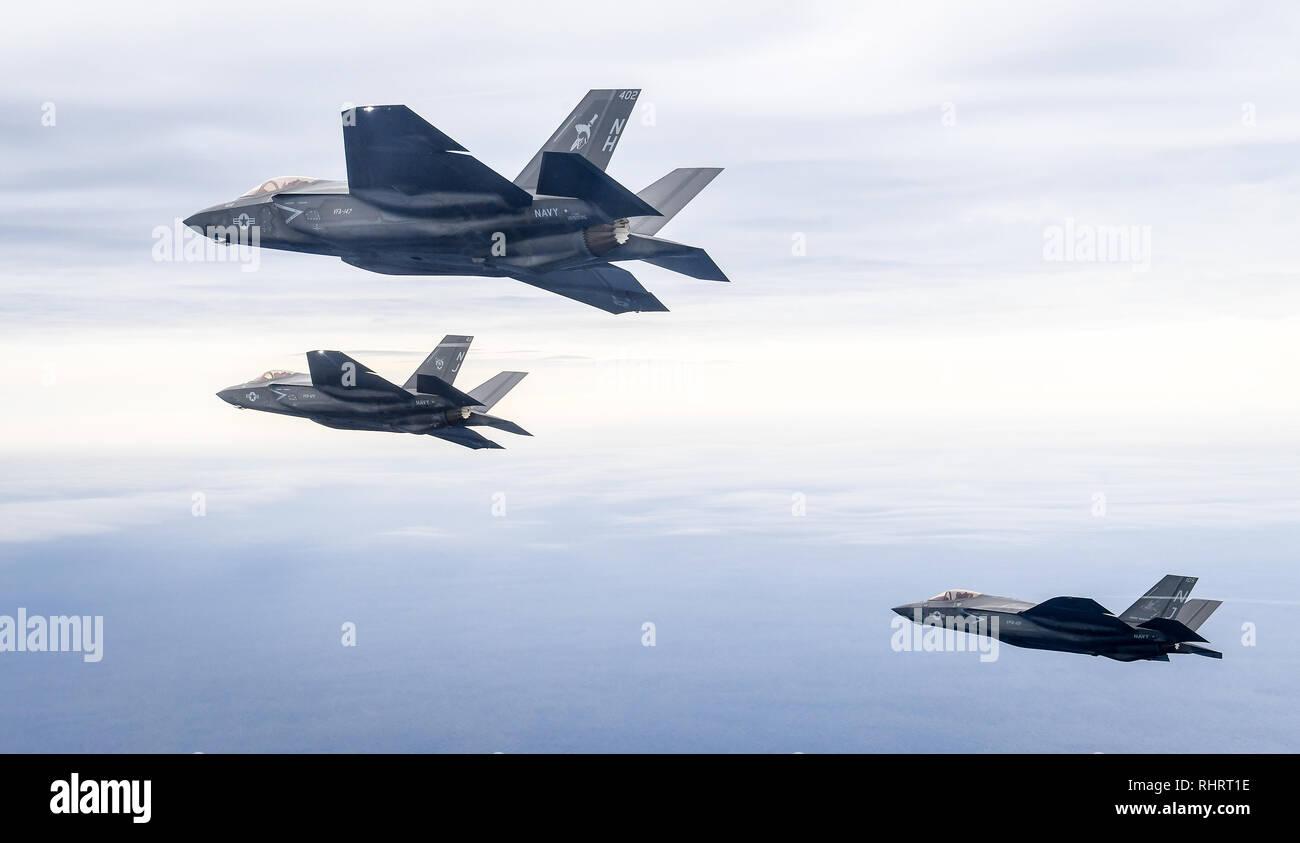 EGLIN AIR FORCE BASE, Fla  (Feb  1, 2019) Three F-35C