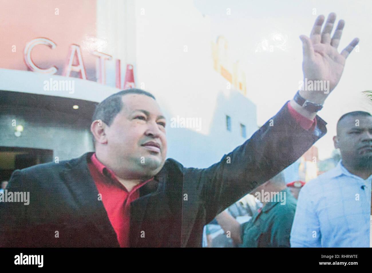 Caracas, Dtto Capital / Venezuela - 03/05/2013. Hugo Chávez poster in Catia Theater in Catia neighborhood. - Stock Image