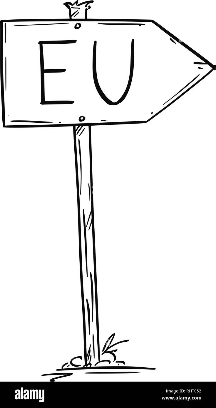 Drawing of Small Rustic Wooden Road Arrow Sign With EU or European Union Text - Stock Image